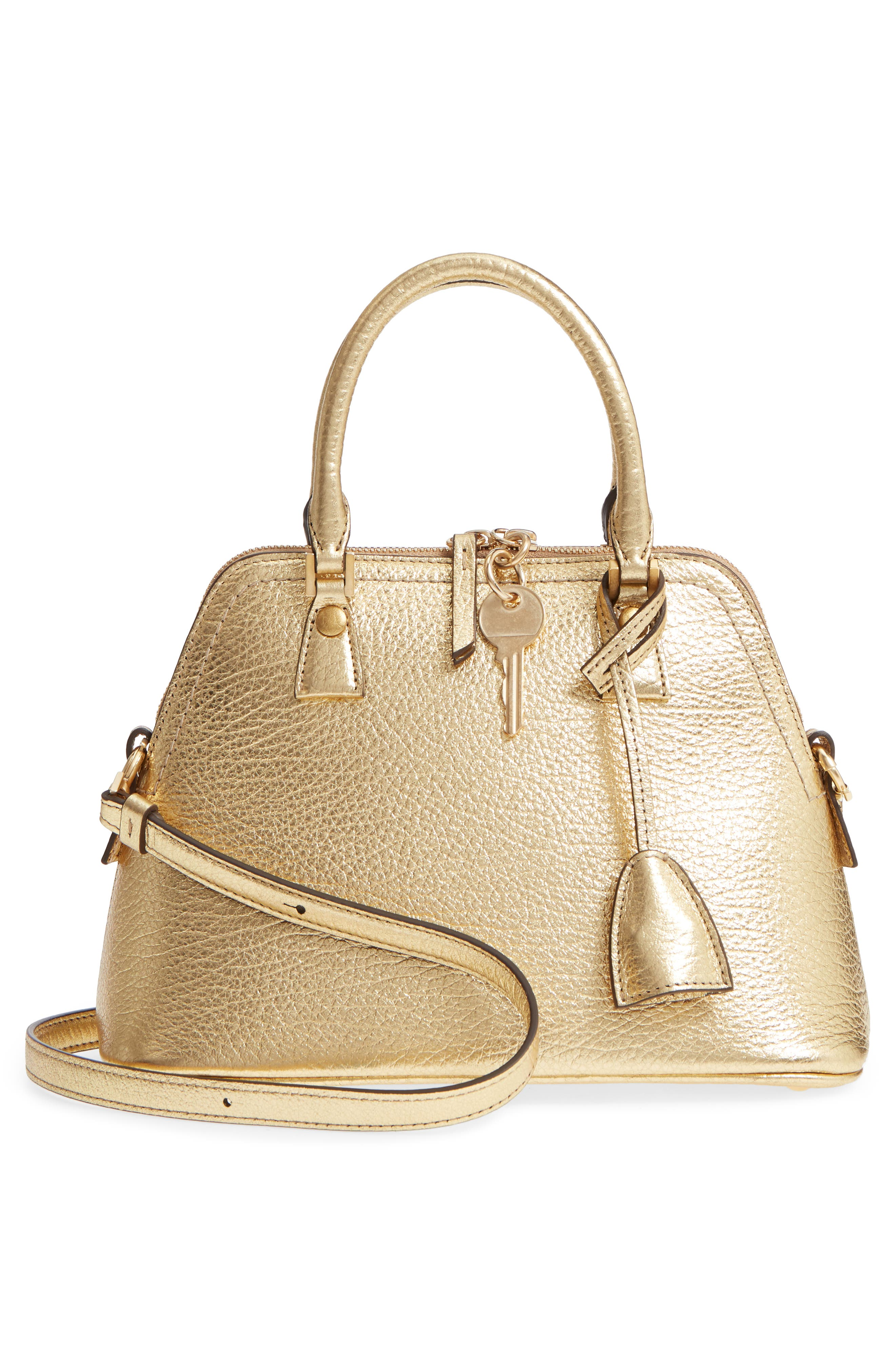 Small 5AC Calfskin Leather Handbag,                             Alternate thumbnail 3, color,                             Gold
