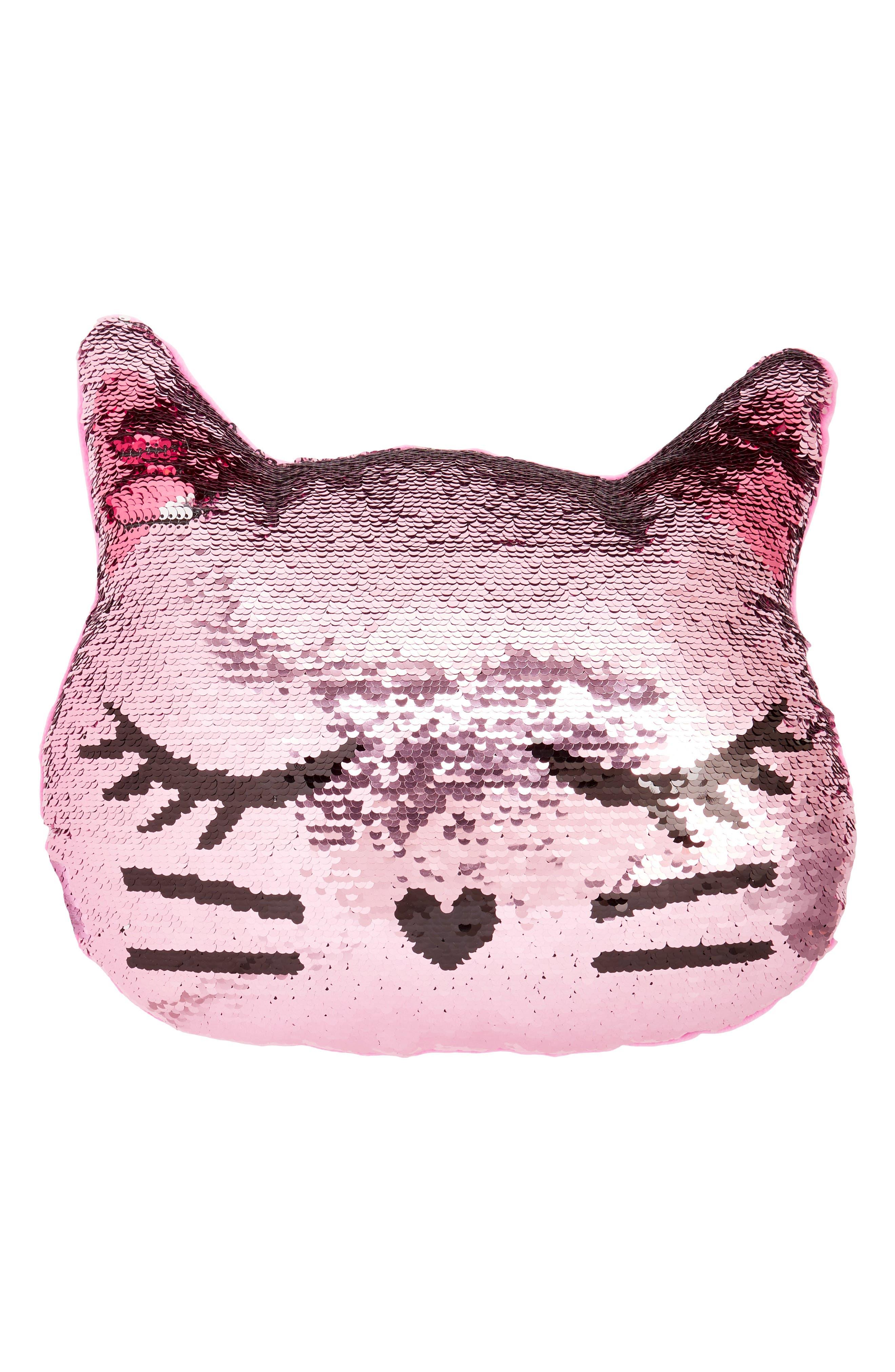 Reversible Sequin Cat Pillow,                             Main thumbnail 1, color,                             Silver Combo