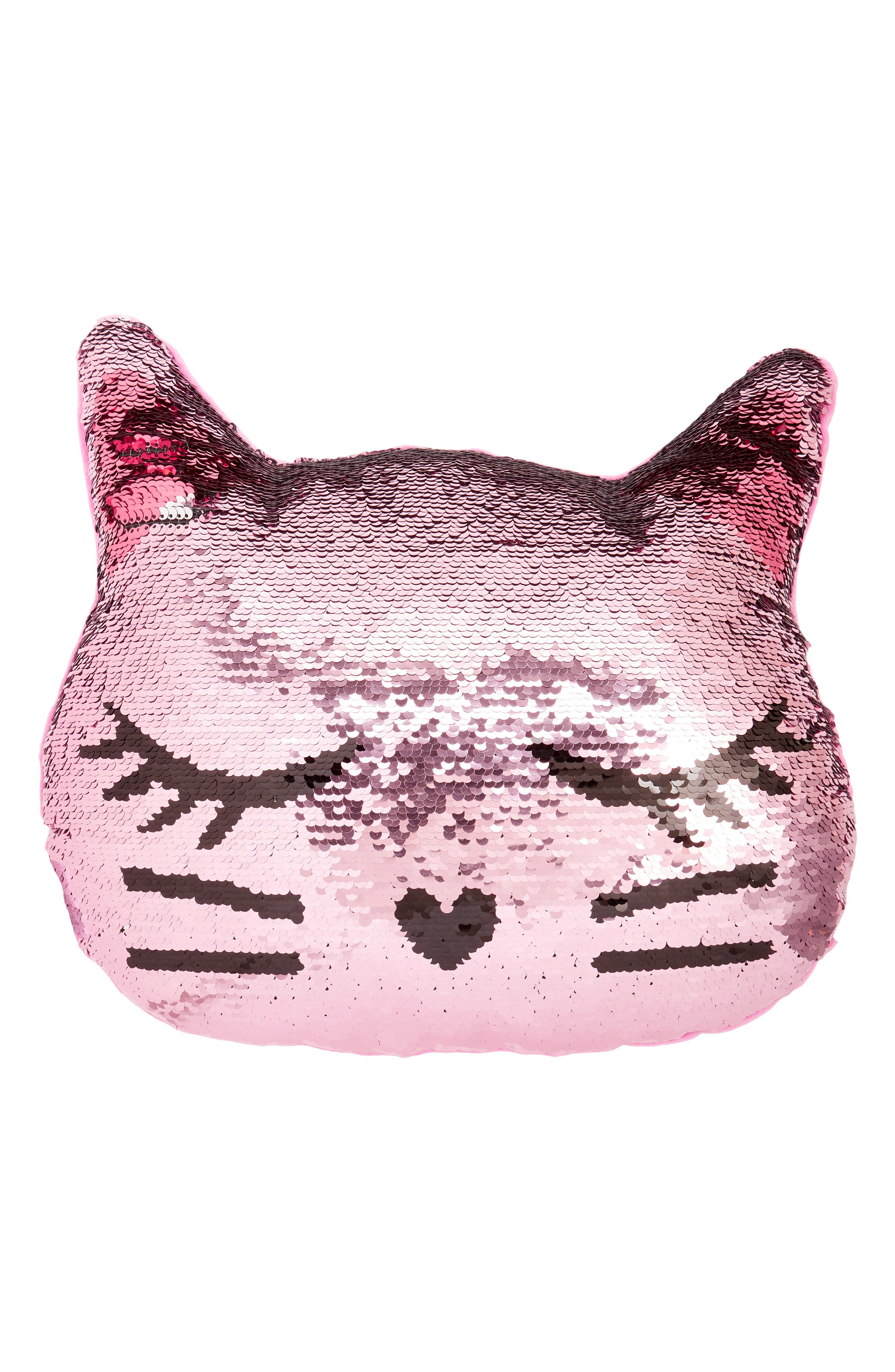 Reversible Sequin Cat Pillow,                         Main,                         color, Silver Combo