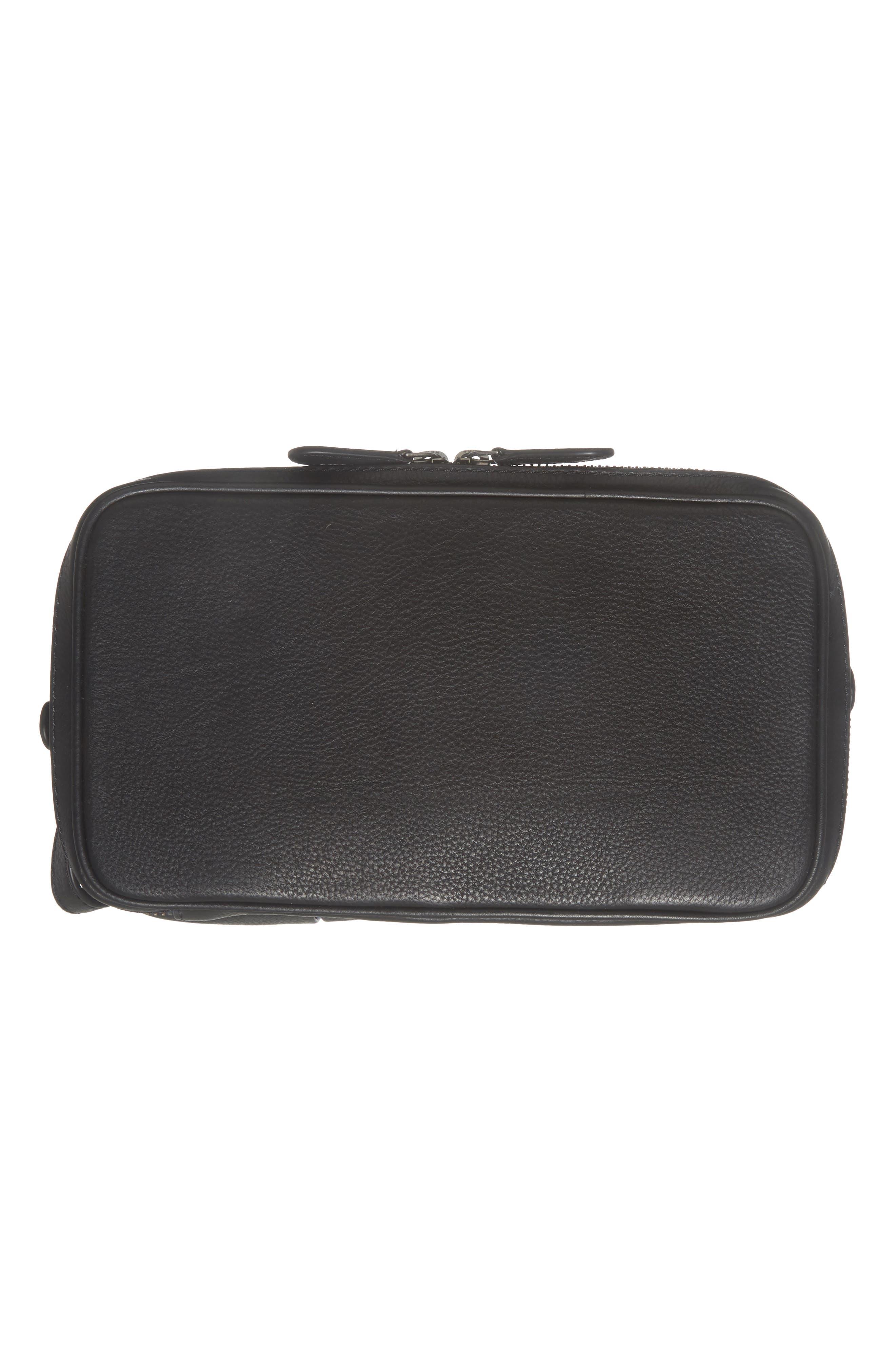 Teekee Leather Dopp Kit,                             Alternate thumbnail 5, color,                             Black