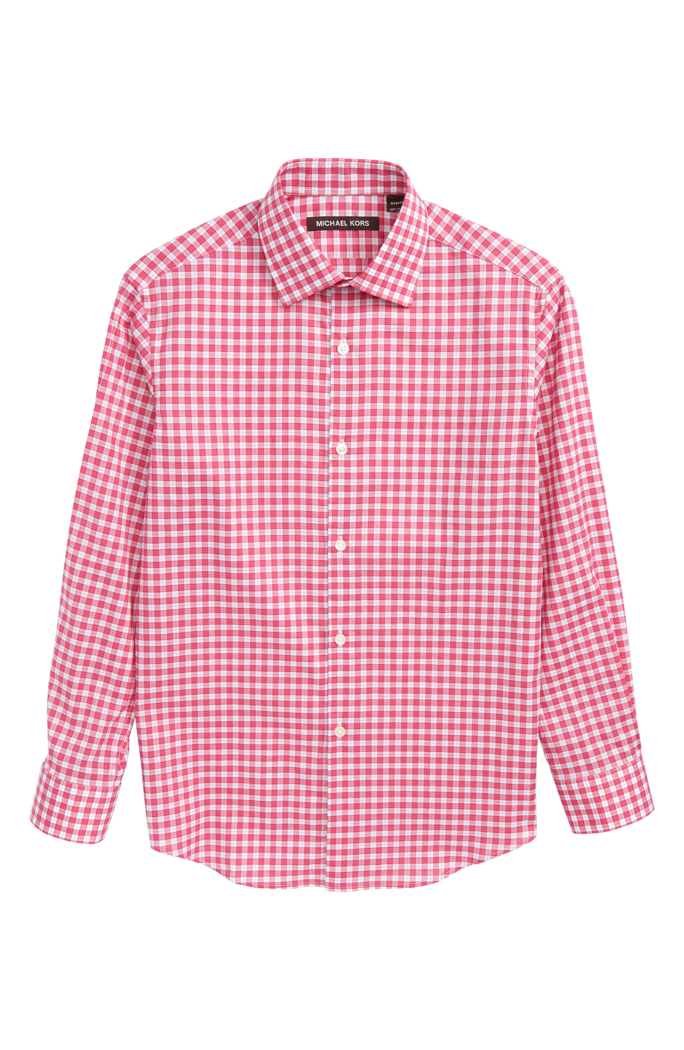 Check Dress Shirt,                             Main thumbnail 1, color,                             Pink/ White