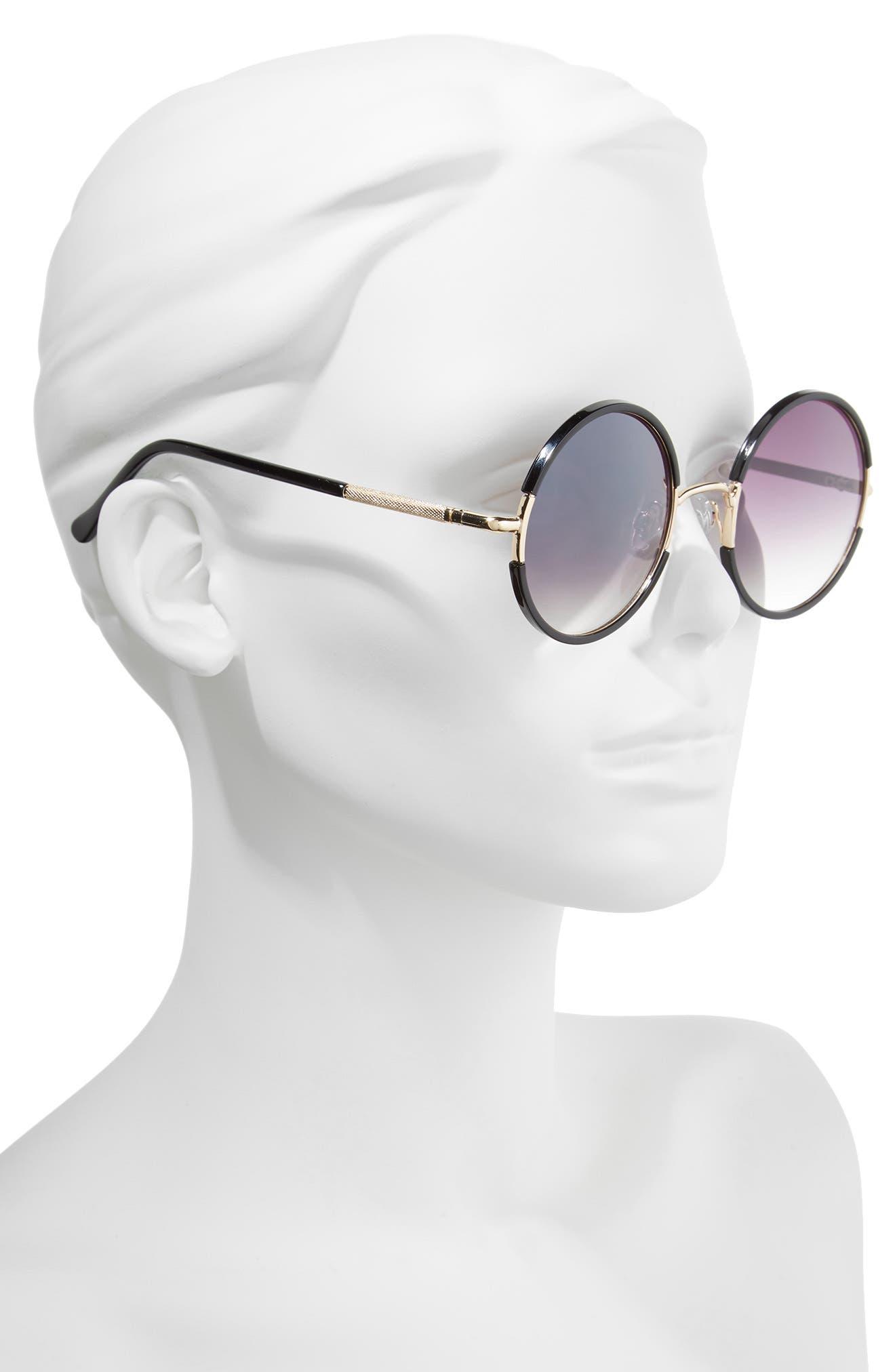52mm Gradient Round Sunglasses,                             Alternate thumbnail 2, color,                             Black/ Gold