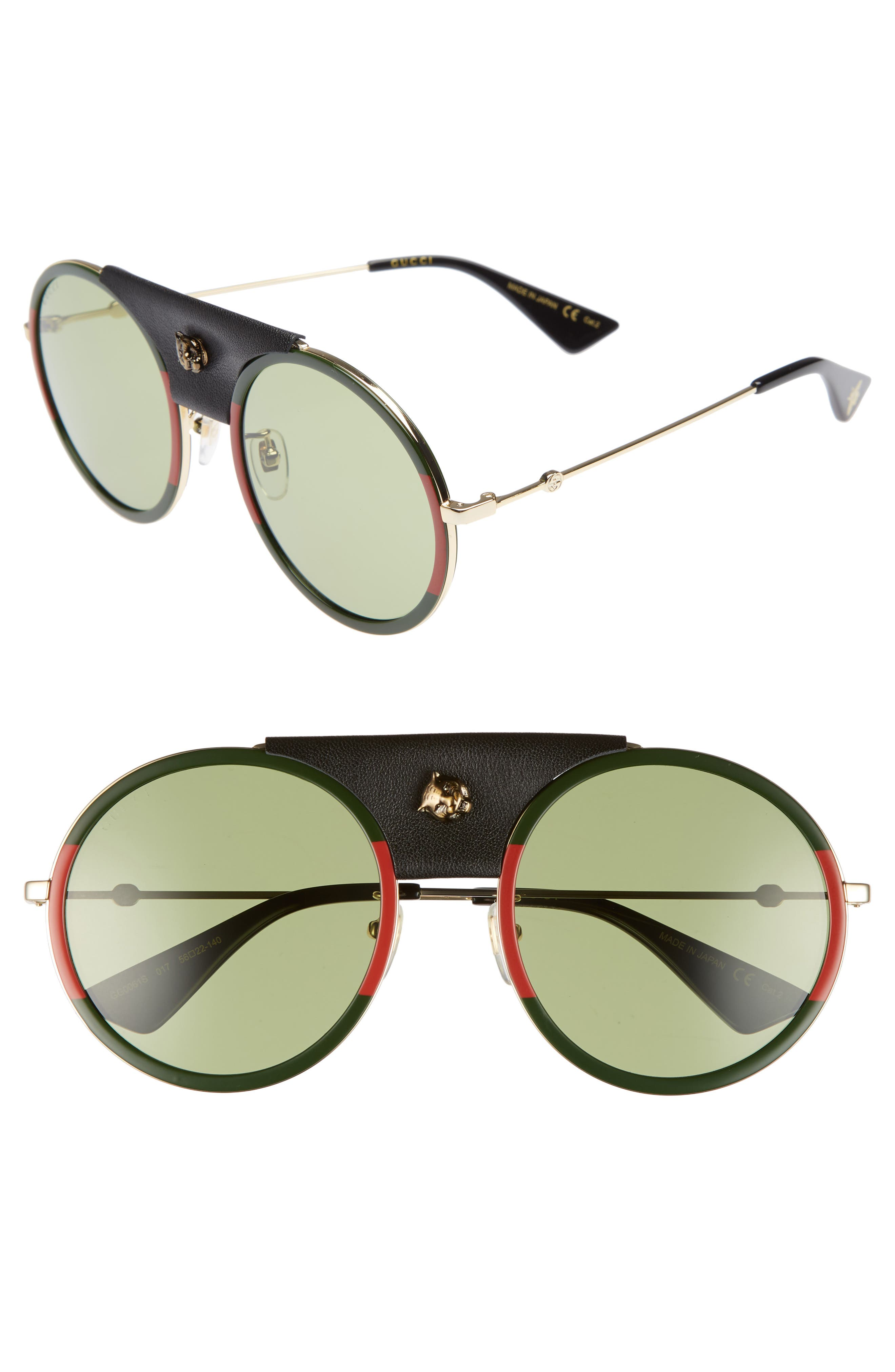 7143adcf55 Gucci Web Block 56Mm Round Sunglasses With Leather Wrap - Gold  Black