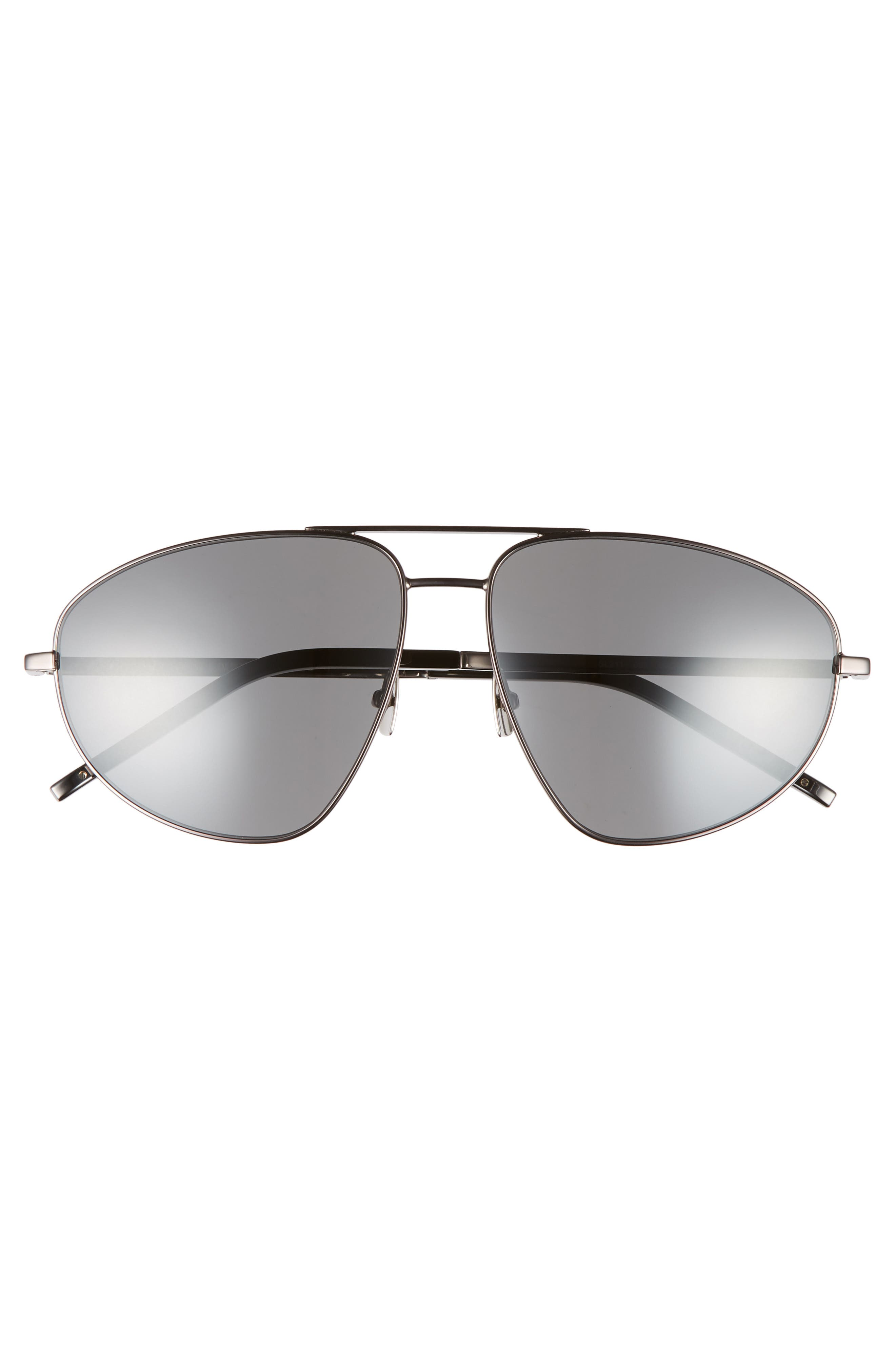 SL 211 60mm Aviator Sunglasses,                             Alternate thumbnail 2, color,                             Dark Ruthenium/ Black