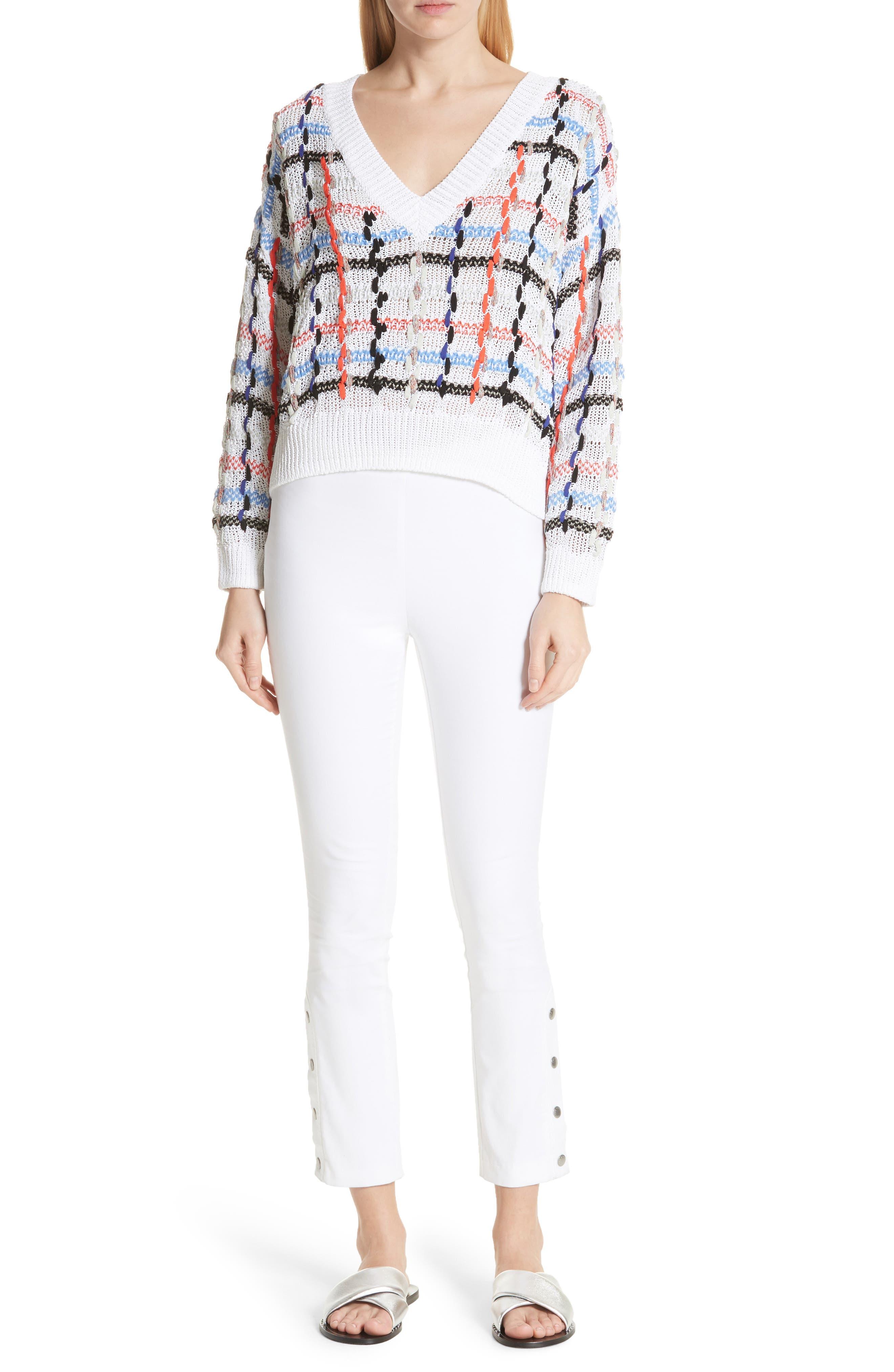 Lloyd Ribbon Detail Plaid Sweater,                             Alternate thumbnail 6, color,                             White
