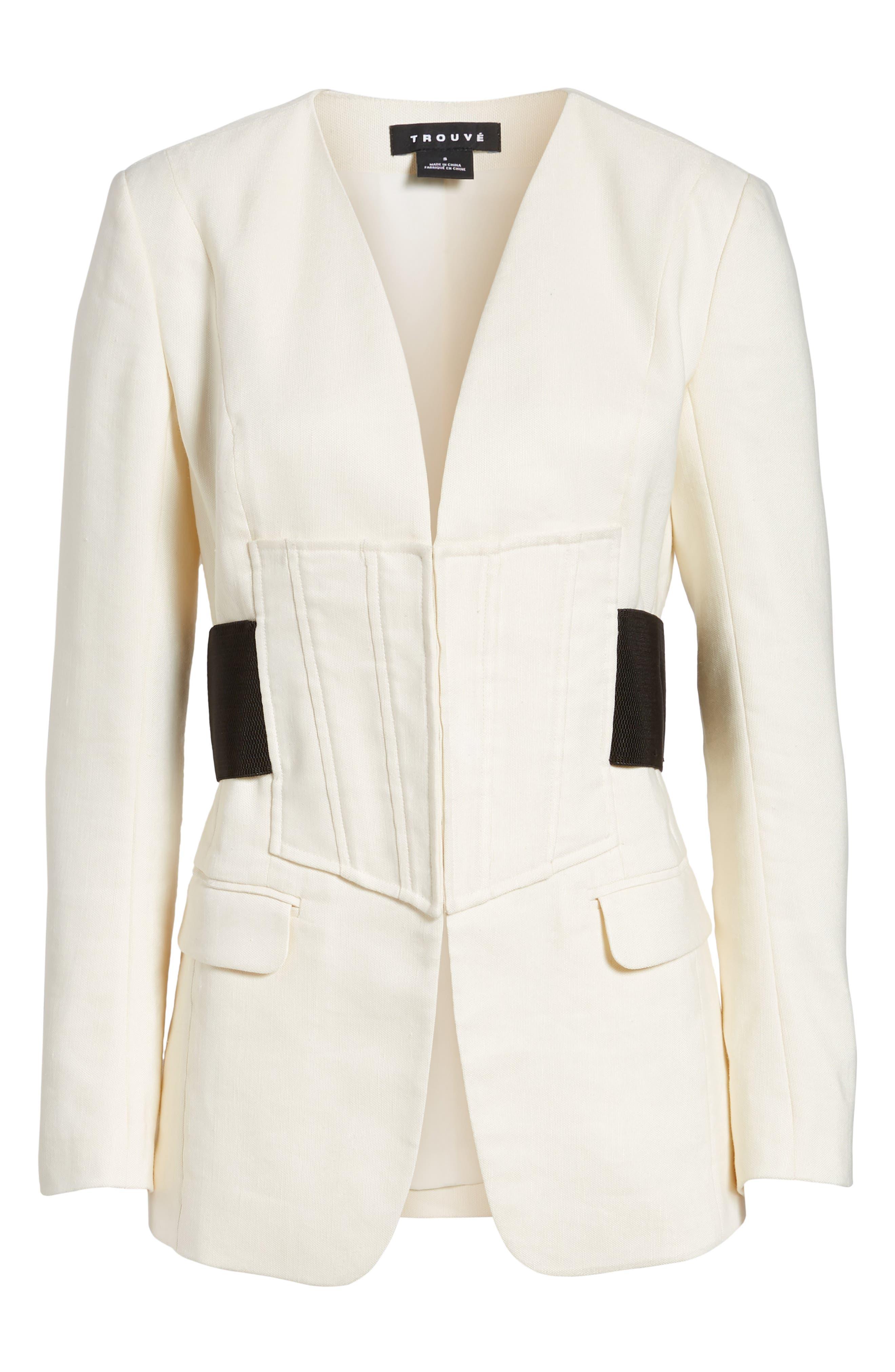 Corset Linen Blend Blazer,                             Alternate thumbnail 6, color,                             Ivory