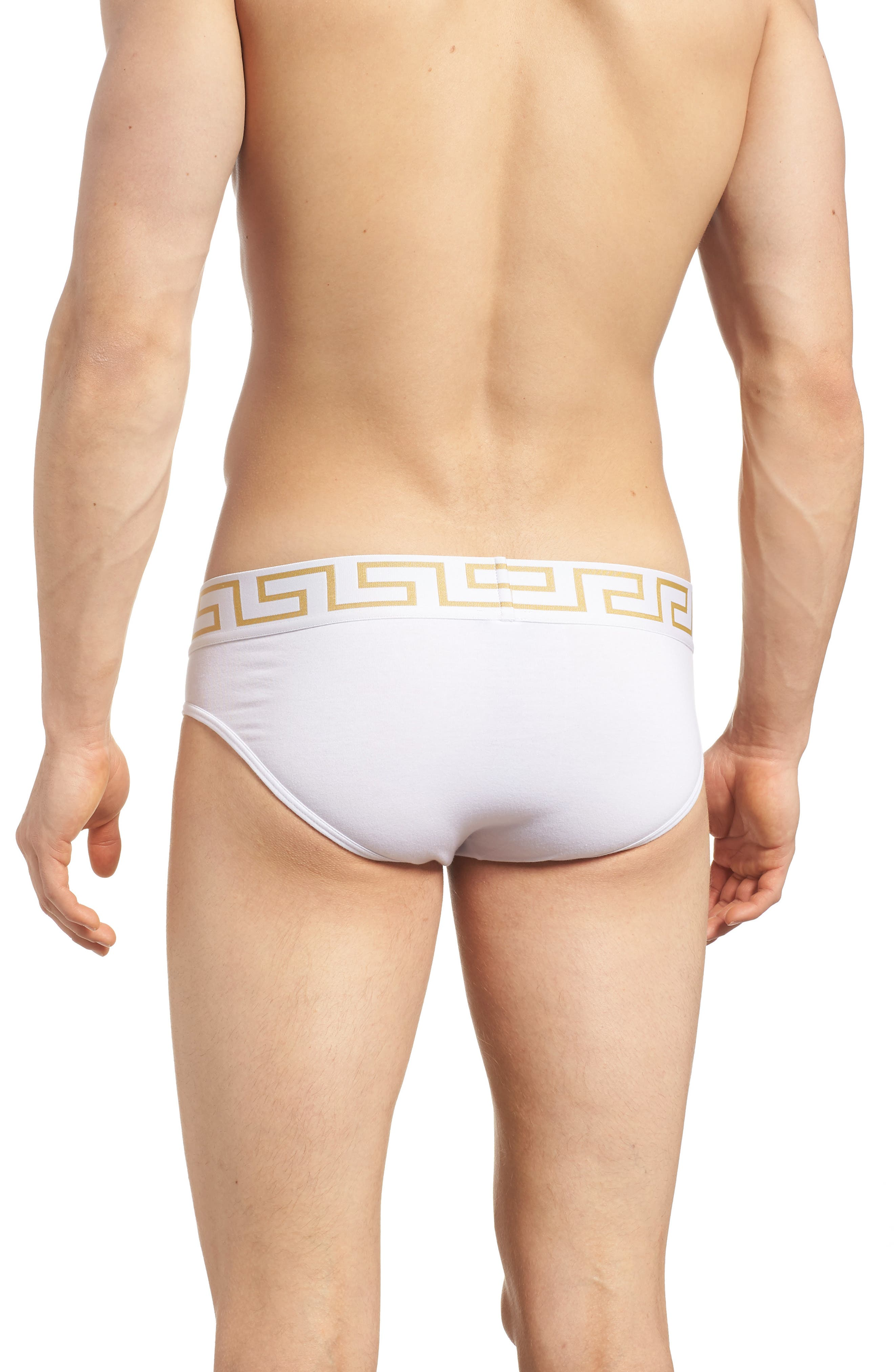 Versace Collection Low Rise Briefs,                             Alternate thumbnail 2, color,                             White/ Greek/ Gold