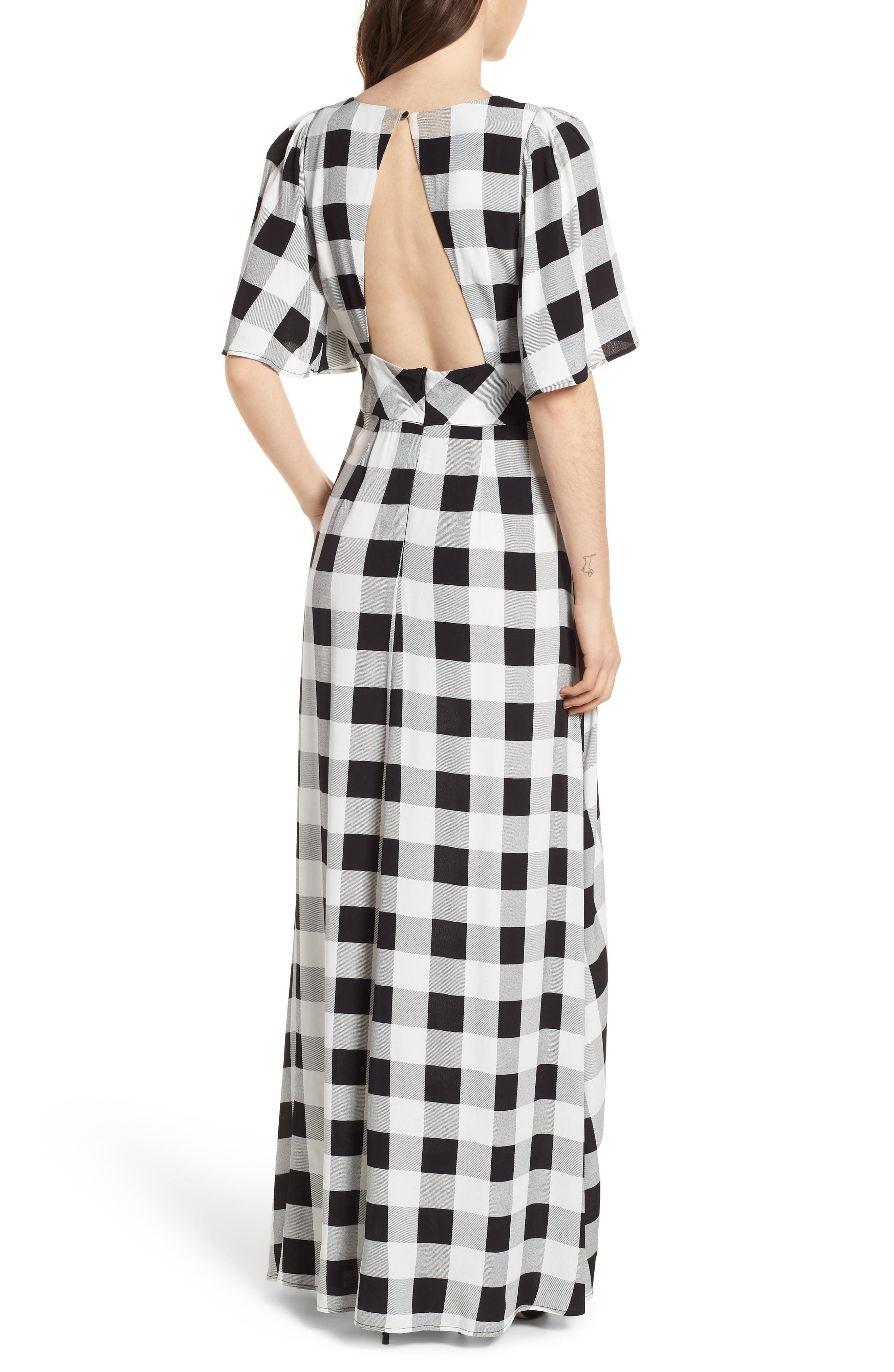 Ramon Tie Front Maxi Dress,                             Alternate thumbnail 2, color,                             Noir Blanc Gingham