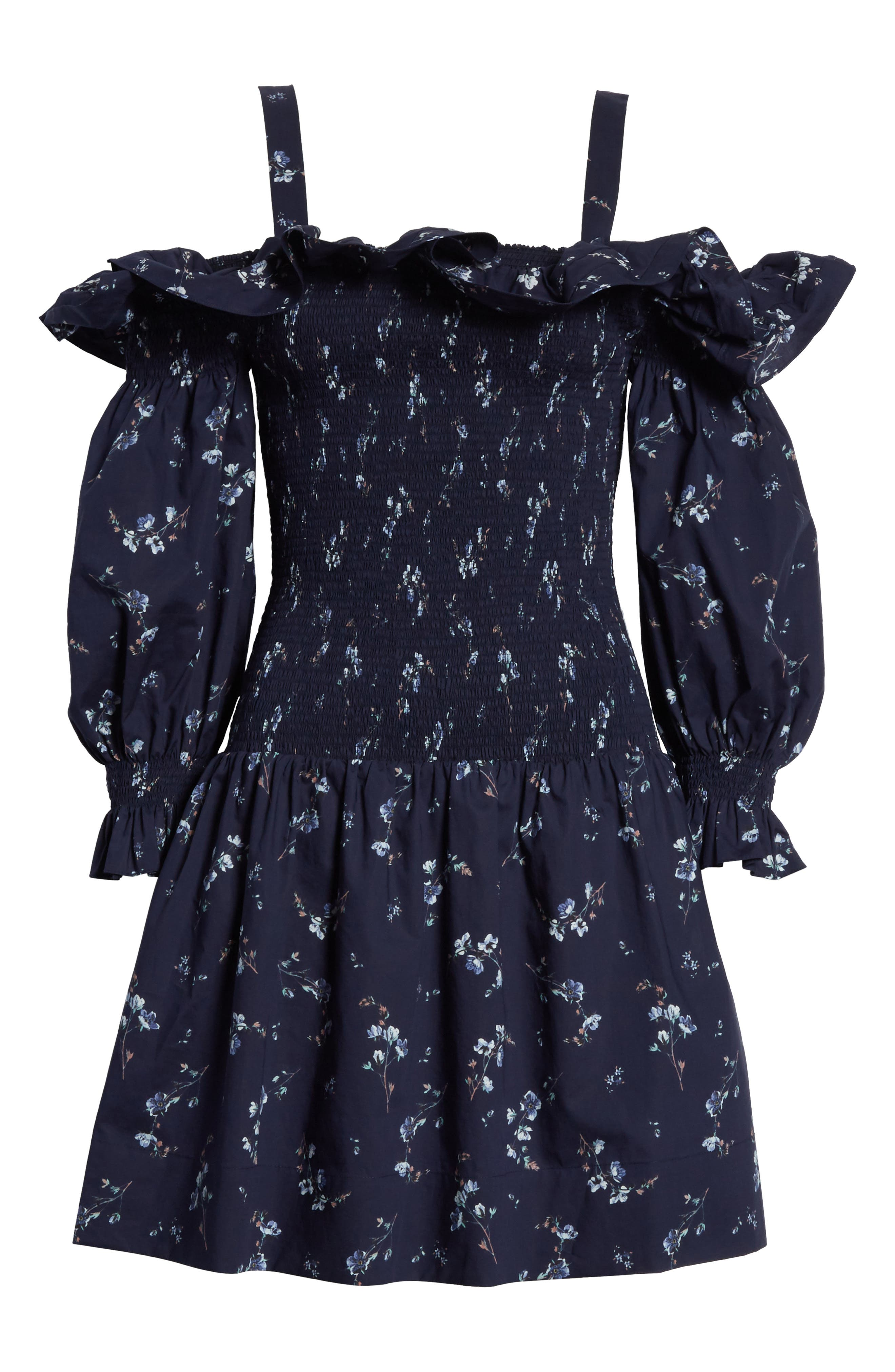 Francine Cold Shoulder Dress,                             Alternate thumbnail 7, color,                             Navy Combo