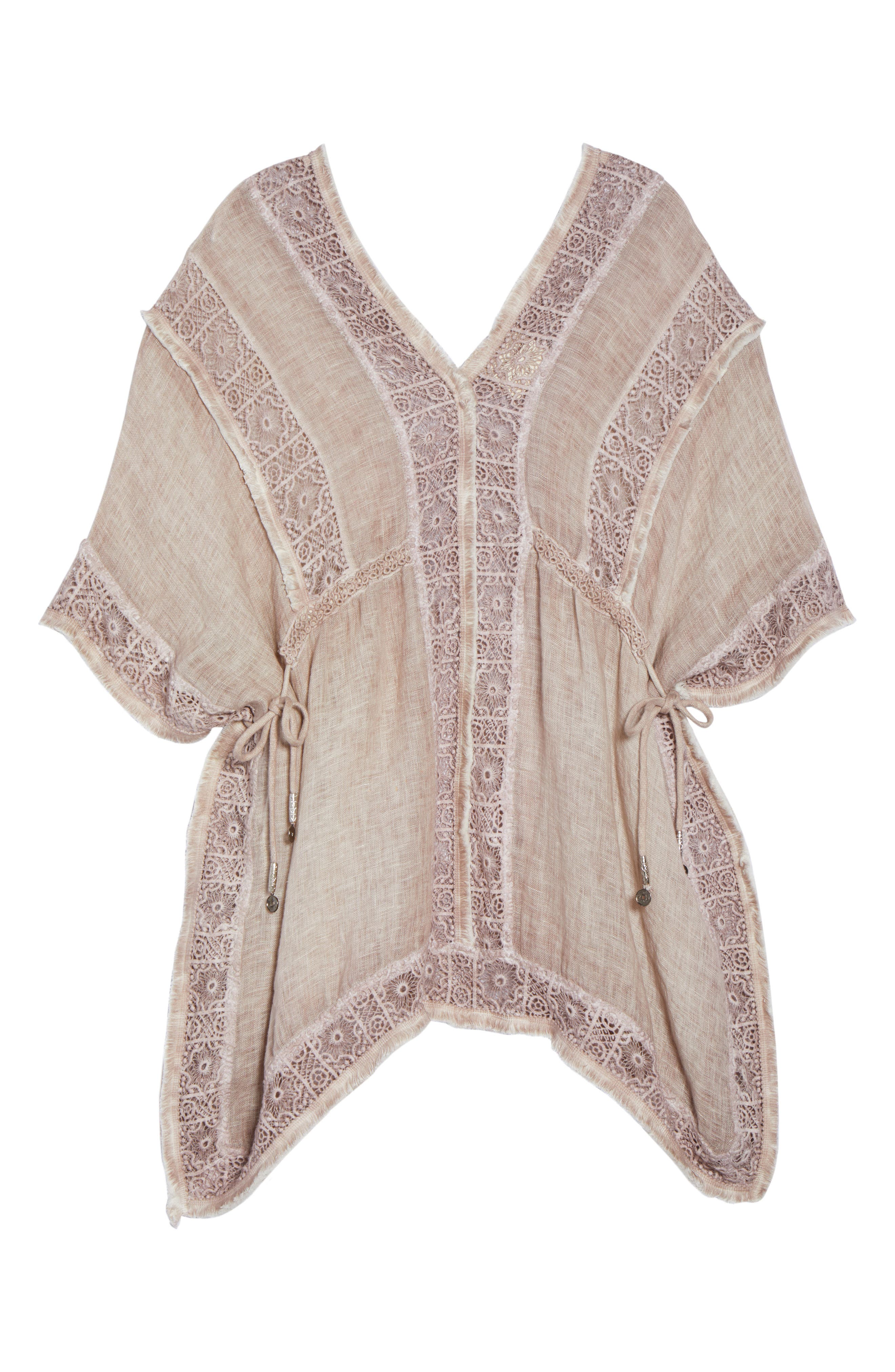 Zendaya Linen Cover-Up Tunic,                             Alternate thumbnail 6, color,                             Dusty Pink