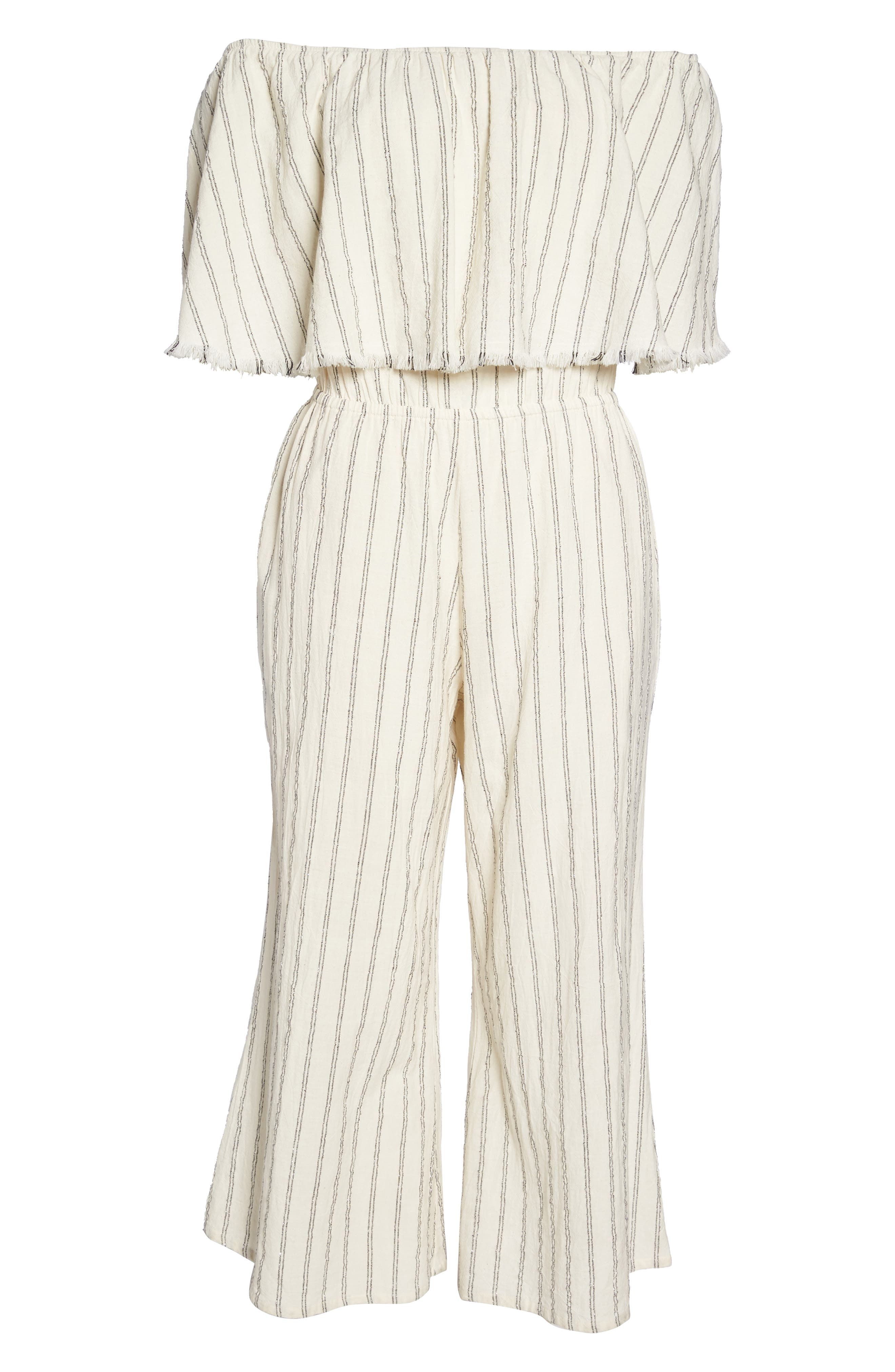 Ruffle Coulotte Cover-Up Jumpsuit,                             Alternate thumbnail 6, color,                             Natural Stripe