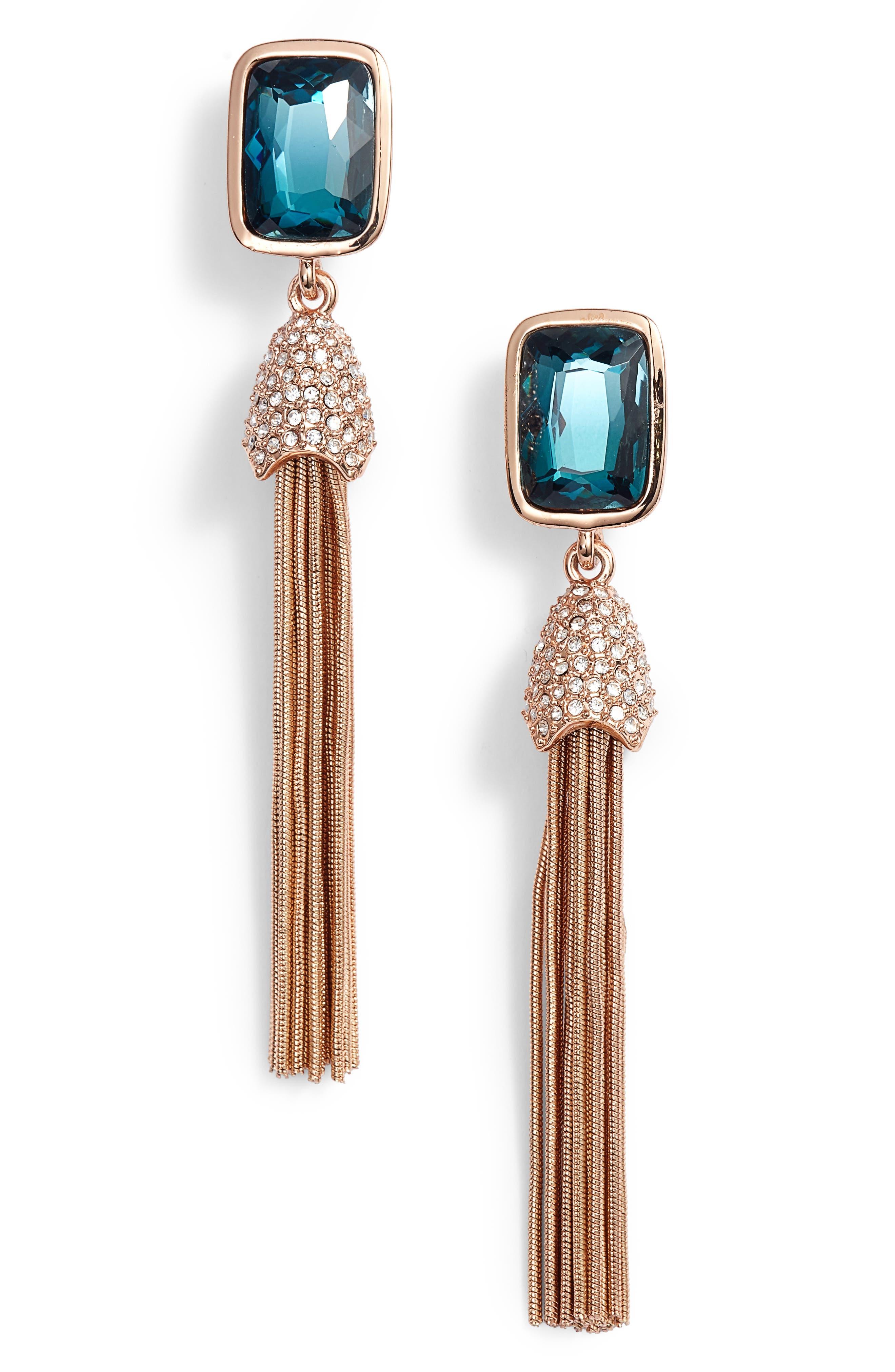 Tassel Fringe Earrings,                             Main thumbnail 1, color,                             Rose Gold