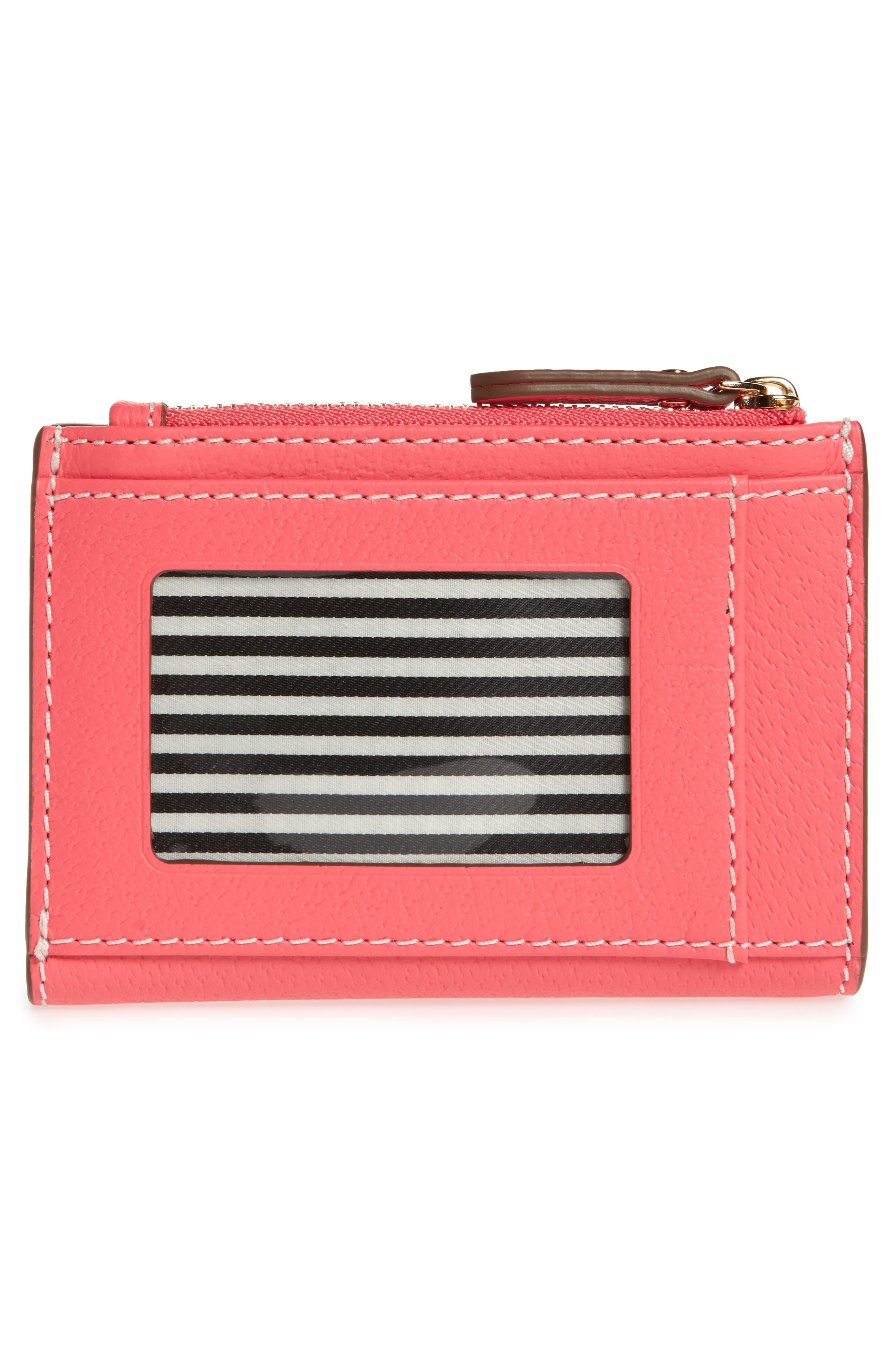 thompson street – abri leather wallet,                             Alternate thumbnail 4, color,                             Bright Flamingo