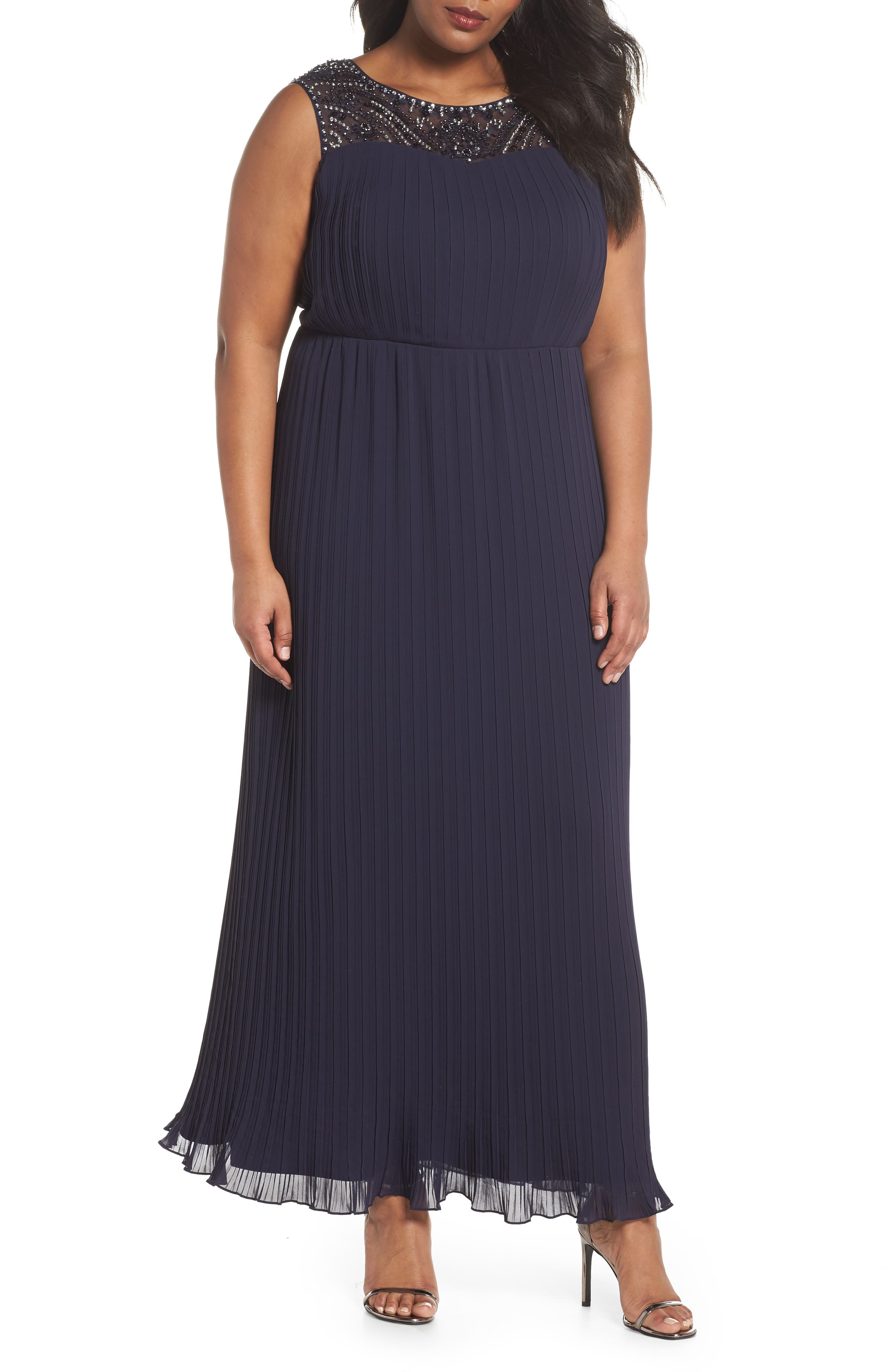 Embellished Illusion Pleated Gown,                         Main,                         color, Navy
