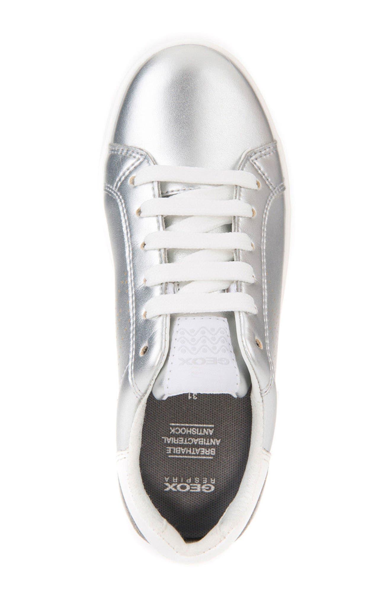 DJ Rock Metallic Low Top Sneaker,                             Alternate thumbnail 4, color,                             Silver