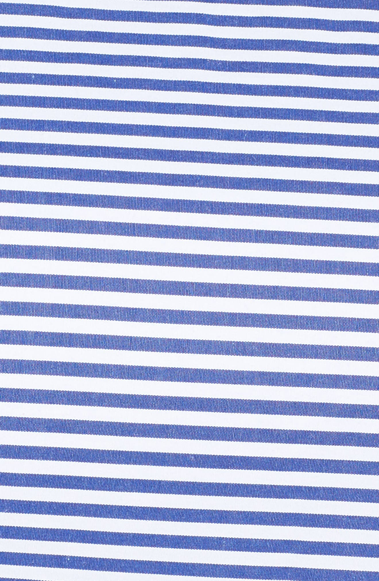 Embroidered Stripe Fit & Flare Dress,                             Alternate thumbnail 5, color,                             Blue/ White