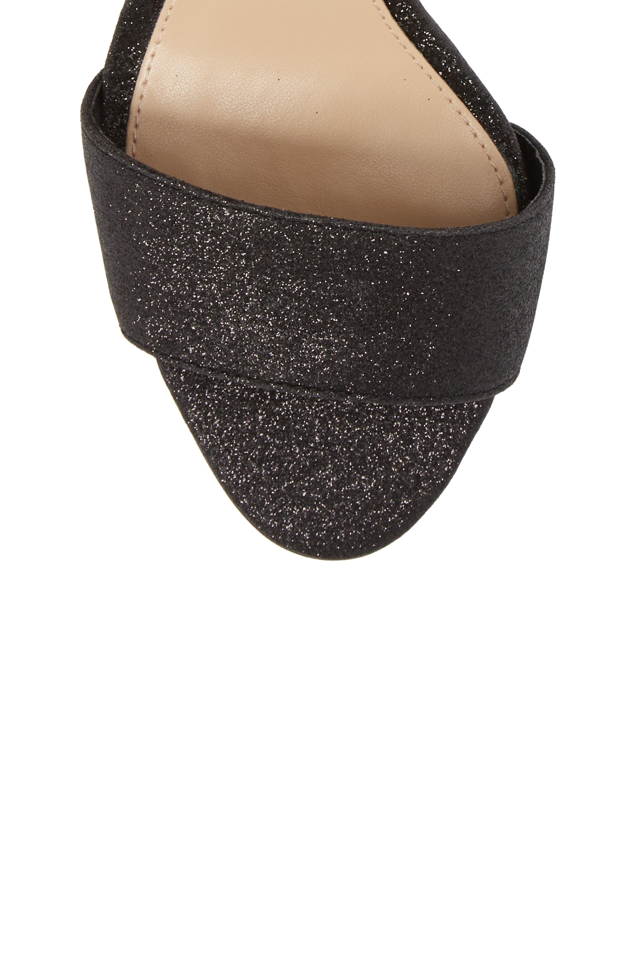Corlina Ankle Strap Sandal,                             Alternate thumbnail 5, color,                             Black Glitter Fabric