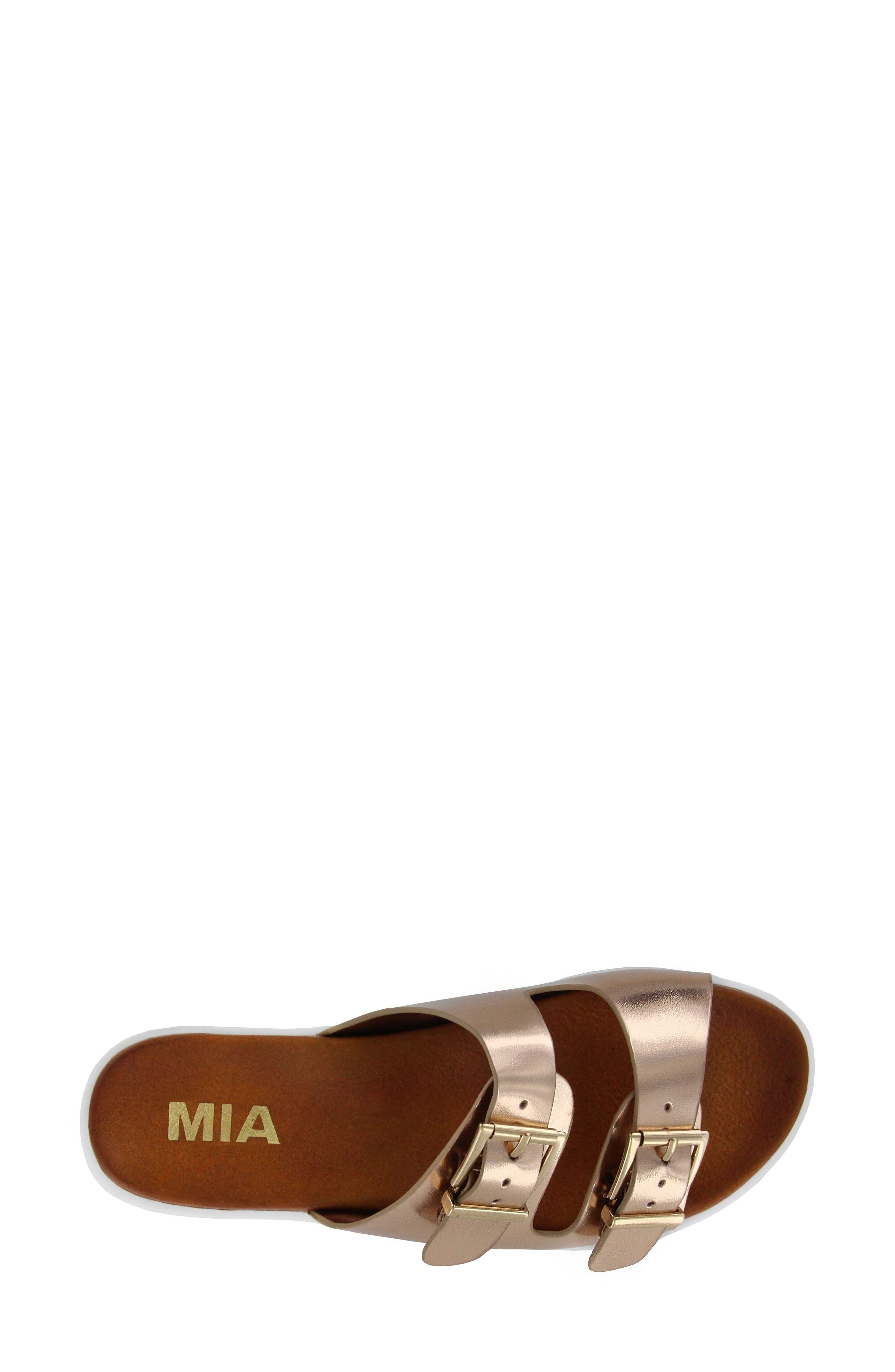 Venessa Platform Slide Sandal,                             Alternate thumbnail 5, color,                             Rose Gold Faux Leather