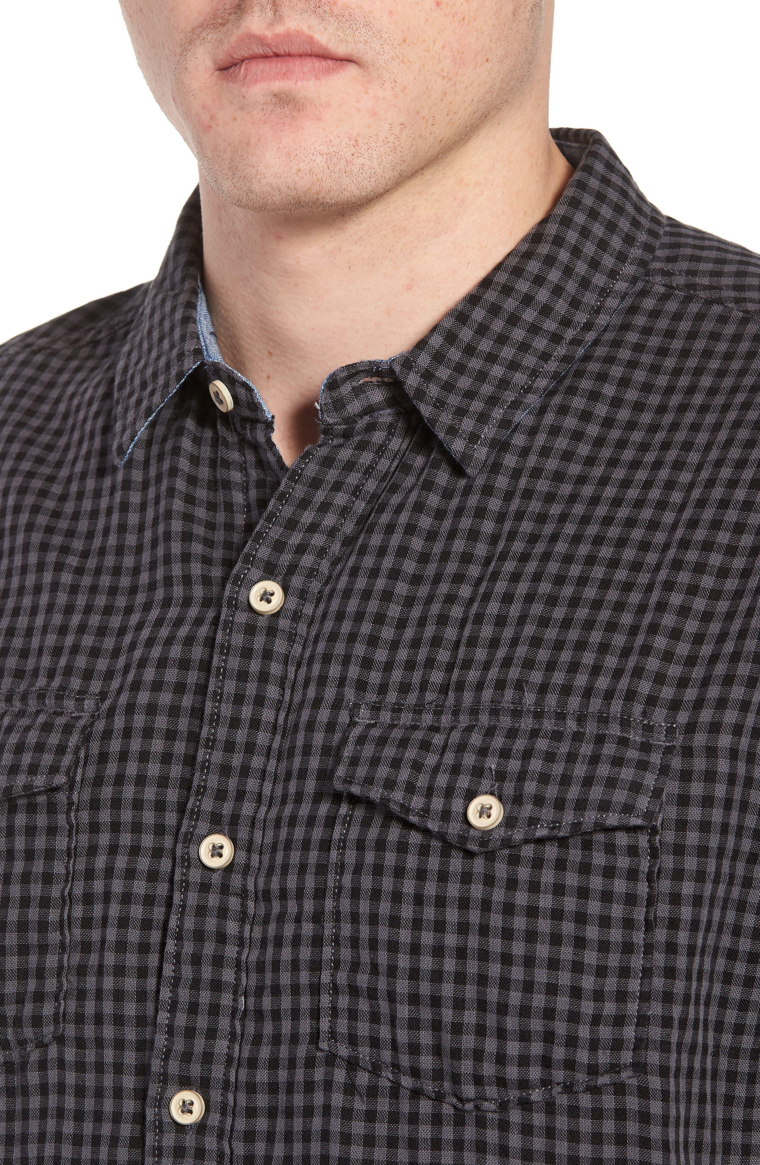 Soho Gingham Sport Shirt,                             Alternate thumbnail 2, color,                             Black Charcoal