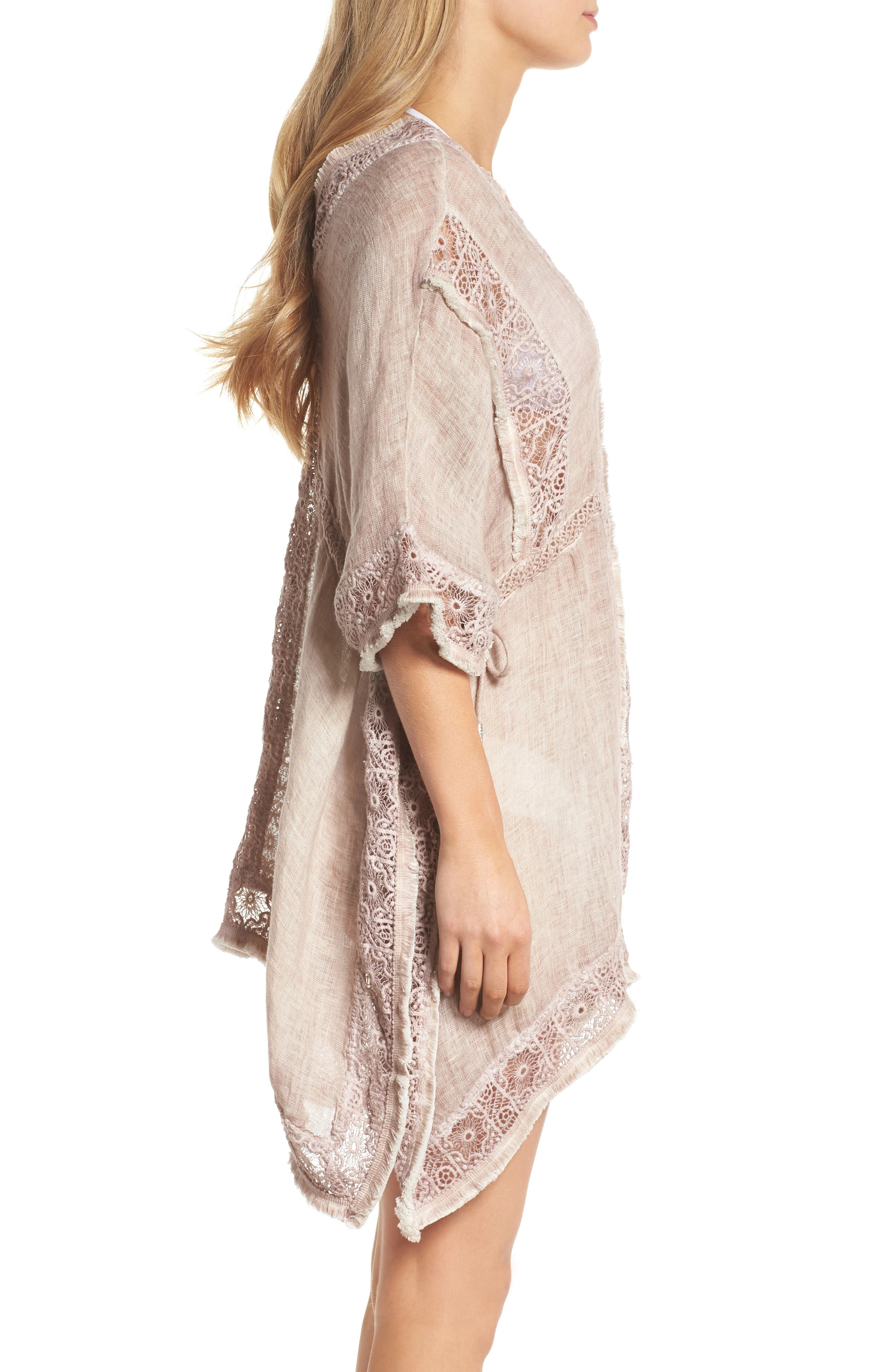 Zendaya Linen Cover-Up Tunic,                             Alternate thumbnail 4, color,                             Dusty Pink