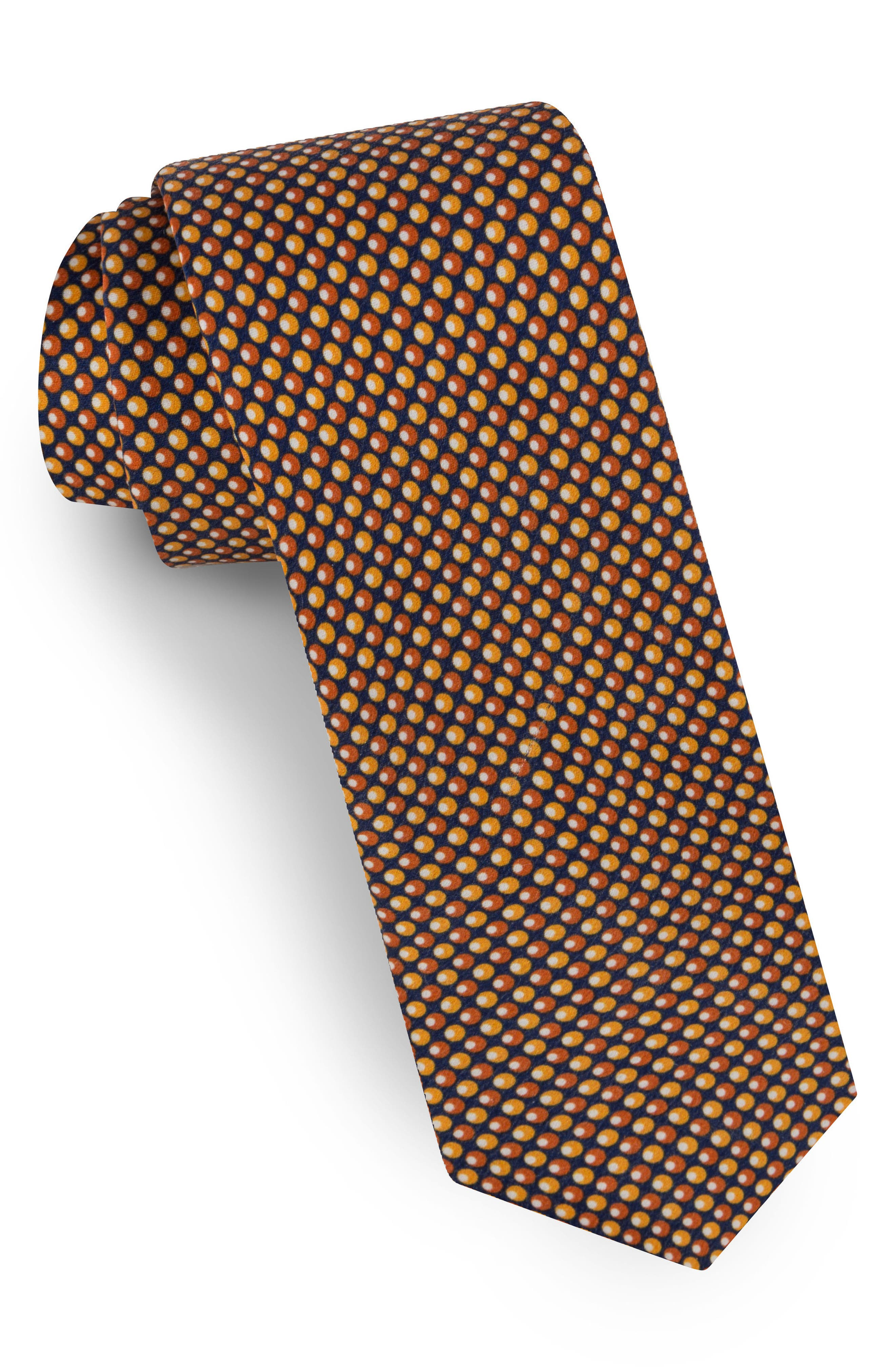 Dot Silk Tie,                         Main,                         color, Orange