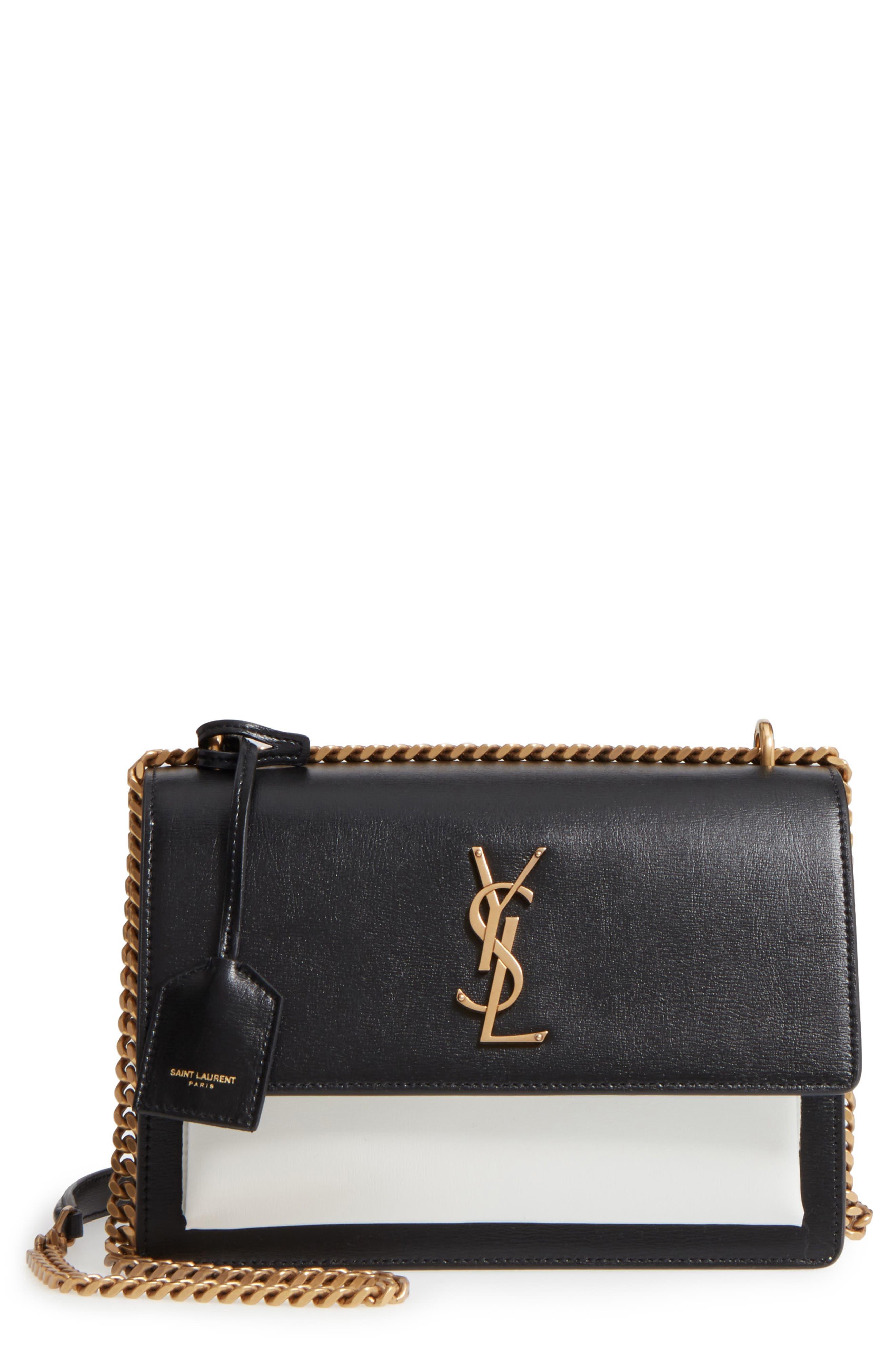 Medium Sunset Leather Shoulder Bag,                         Main,                         color, Black/ White