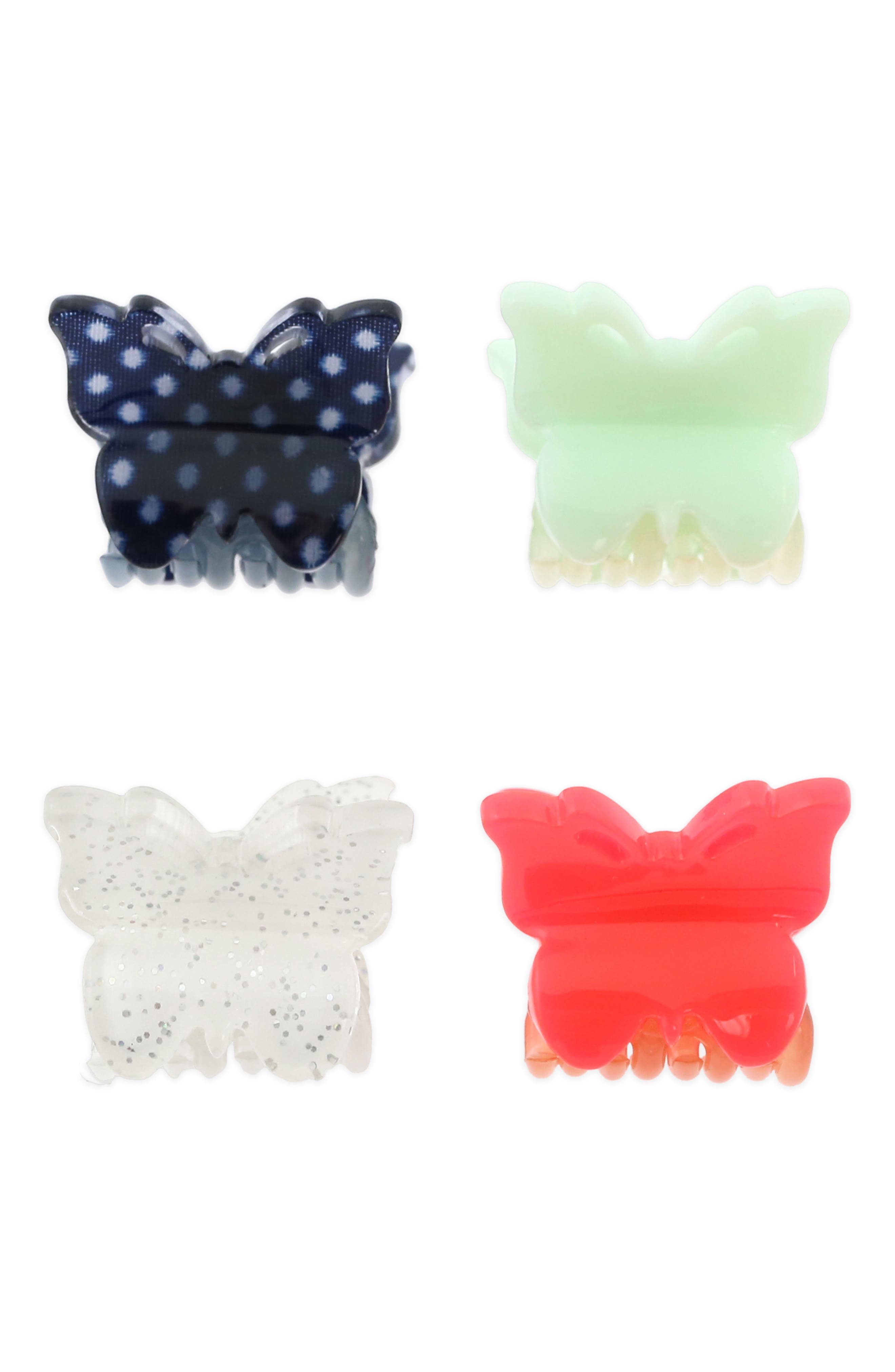 Set of 4 Butterfly Clip Set,                             Main thumbnail 1, color,                             Multi