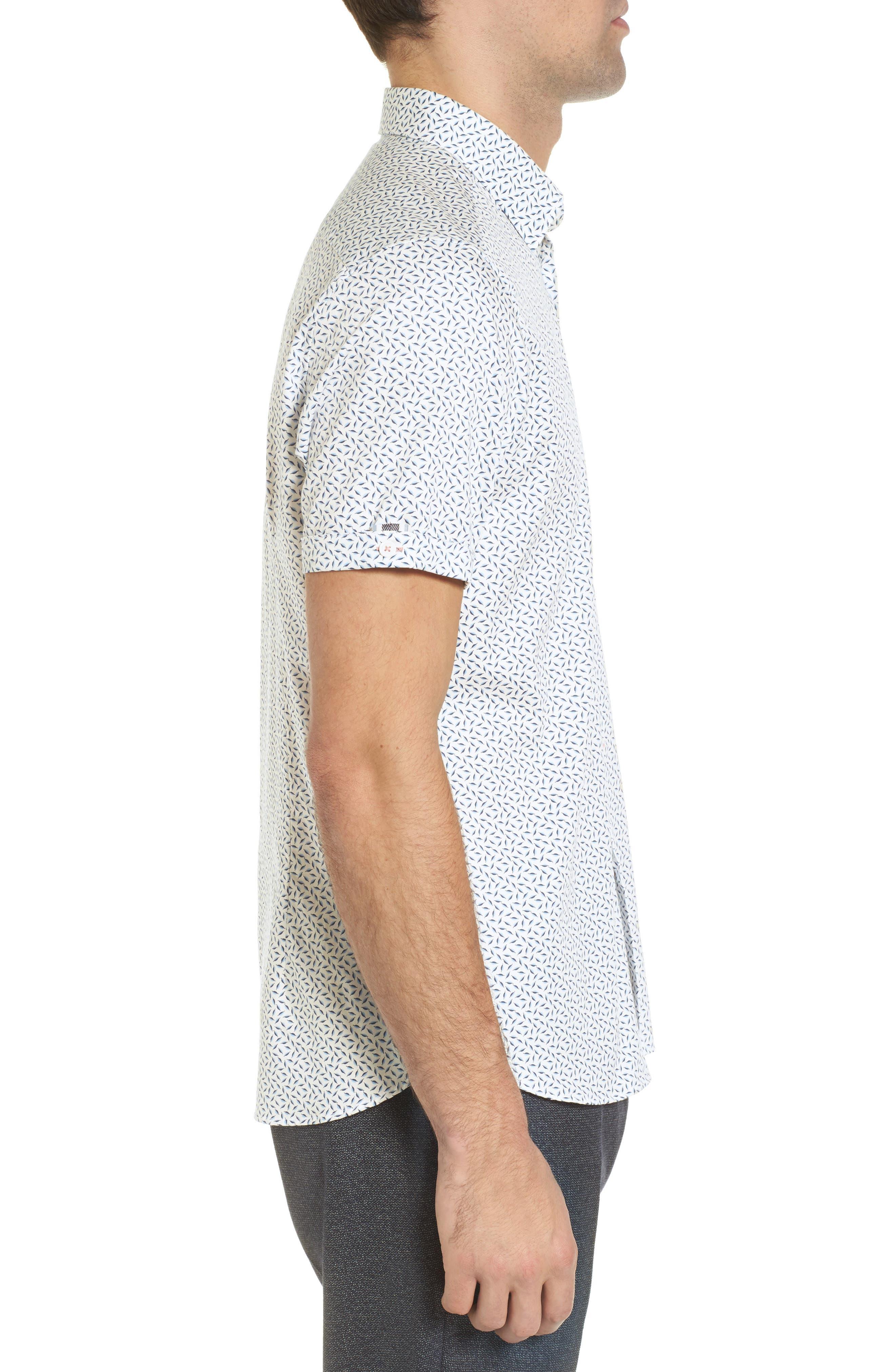 Narnar Trim Fit Geo Print Camp Shirt,                             Alternate thumbnail 4, color,                             White