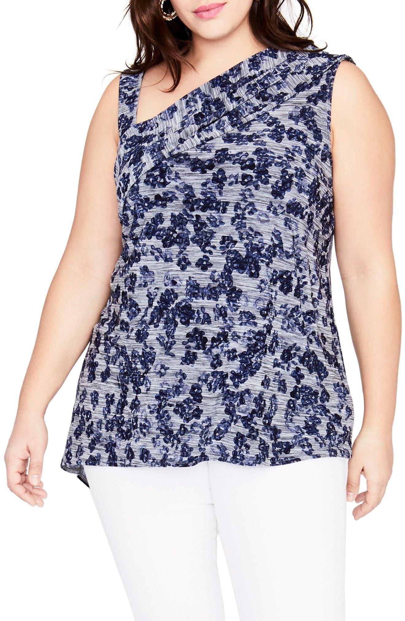 RACHEL Rachel Roy One-Shoulder Floral Top (Plus Size)