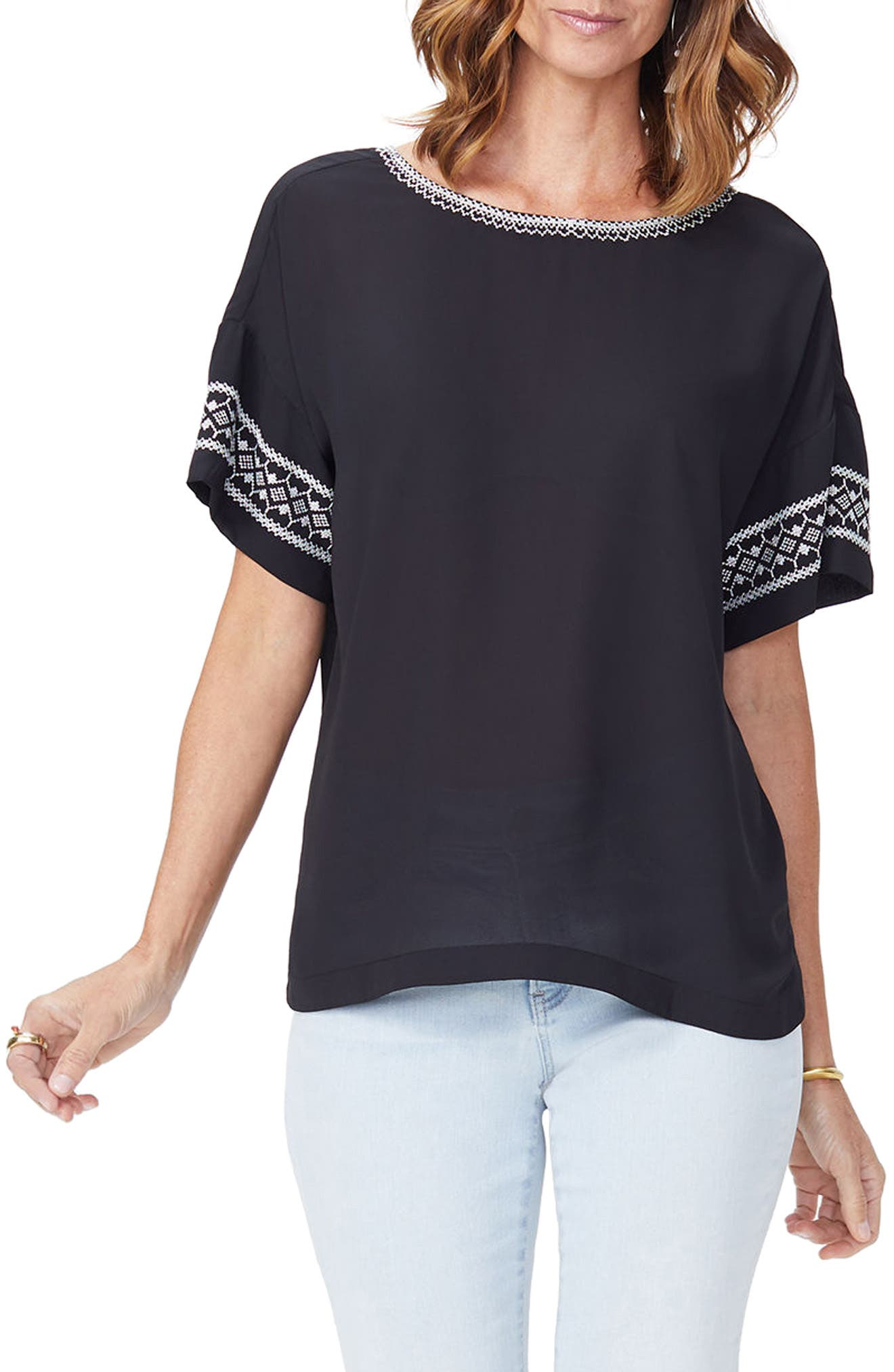 Embroidered Tee,                         Main,                         color, Black