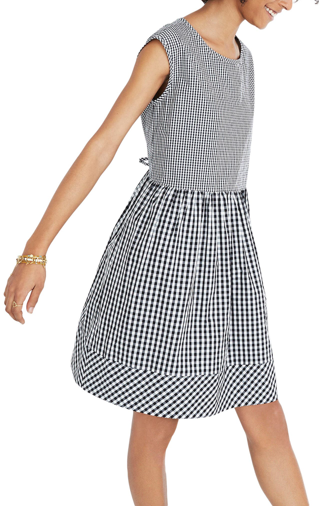 Gingham Tie Back Minidress,                             Alternate thumbnail 3, color,                             True Black