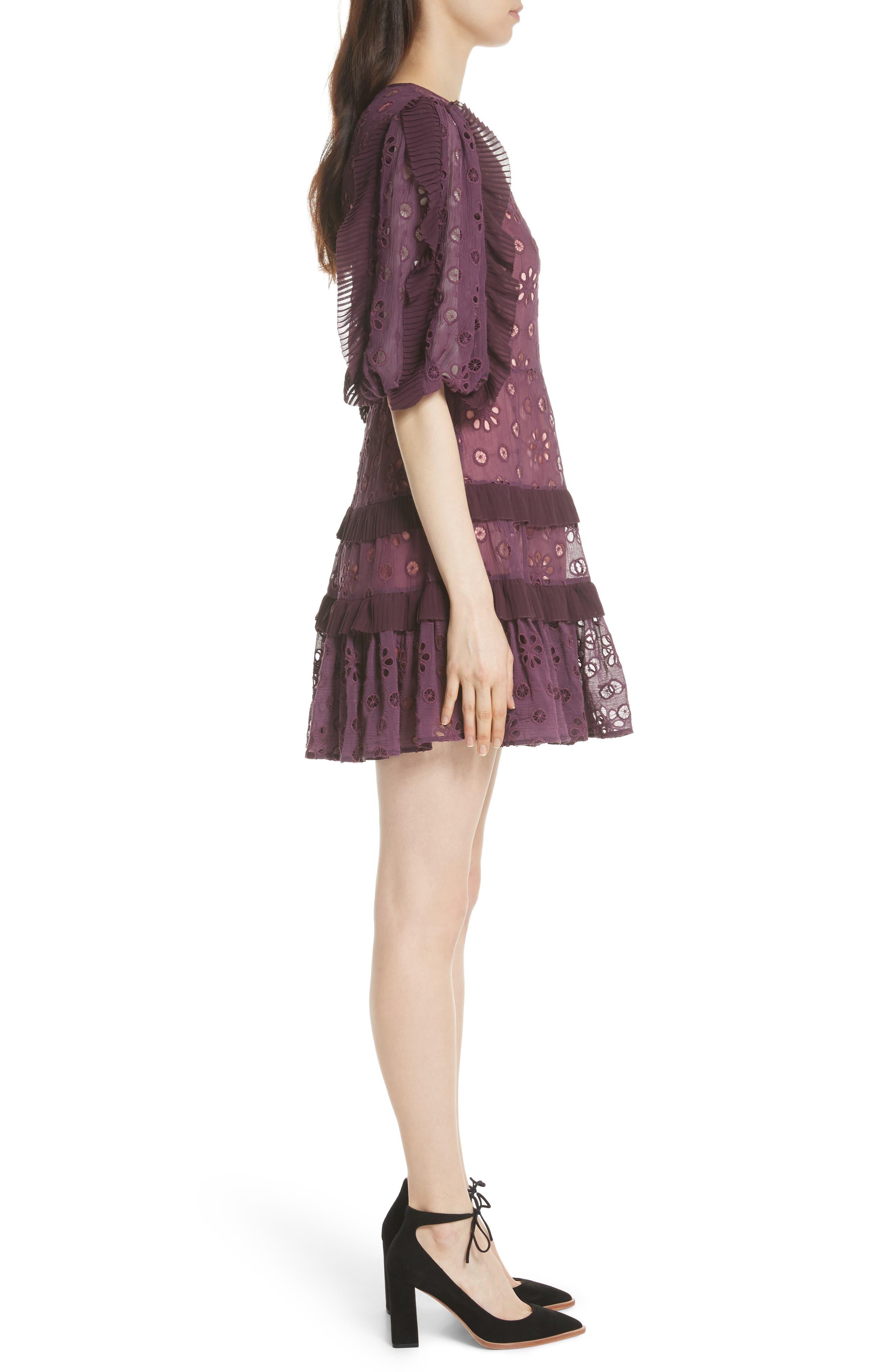 Pinwheel Eyelet Dress,                             Alternate thumbnail 3, color,                             Plum