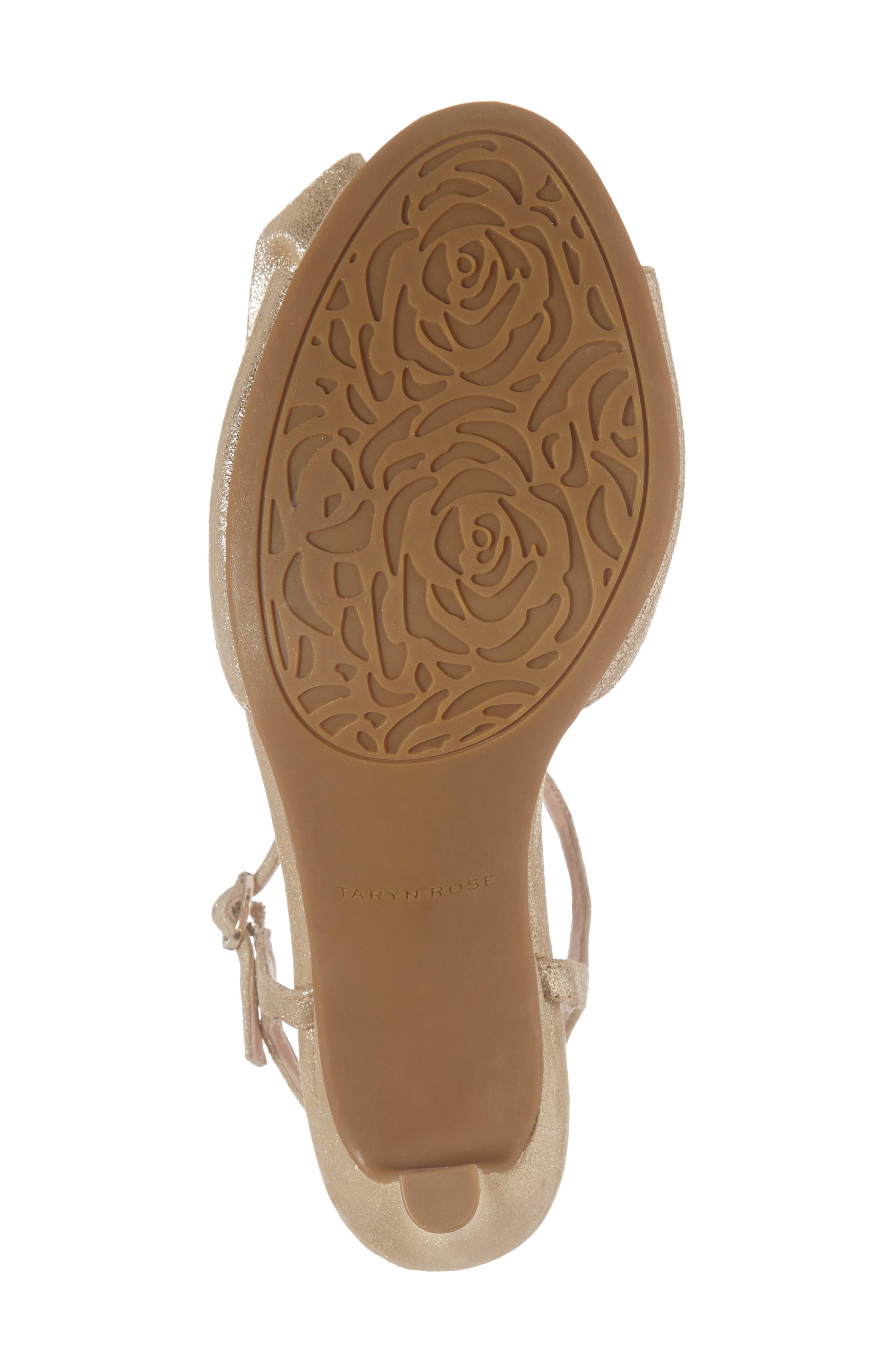 Jacklyn Flower Sandal,                             Alternate thumbnail 6, color,                             Gold Shimmer Fabric