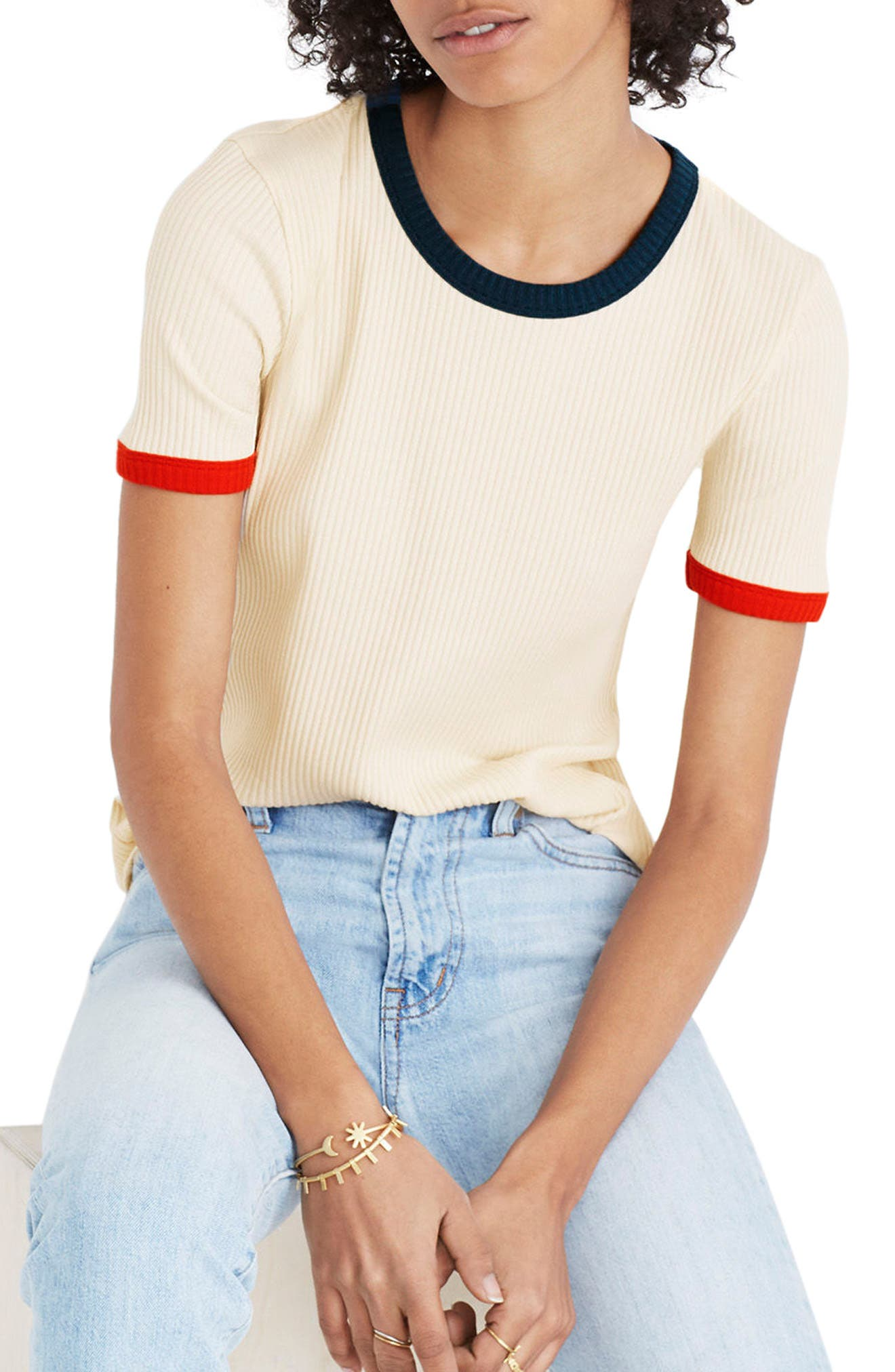 Colorblock Ringer Tee,                         Main,                         color, Antique Cream