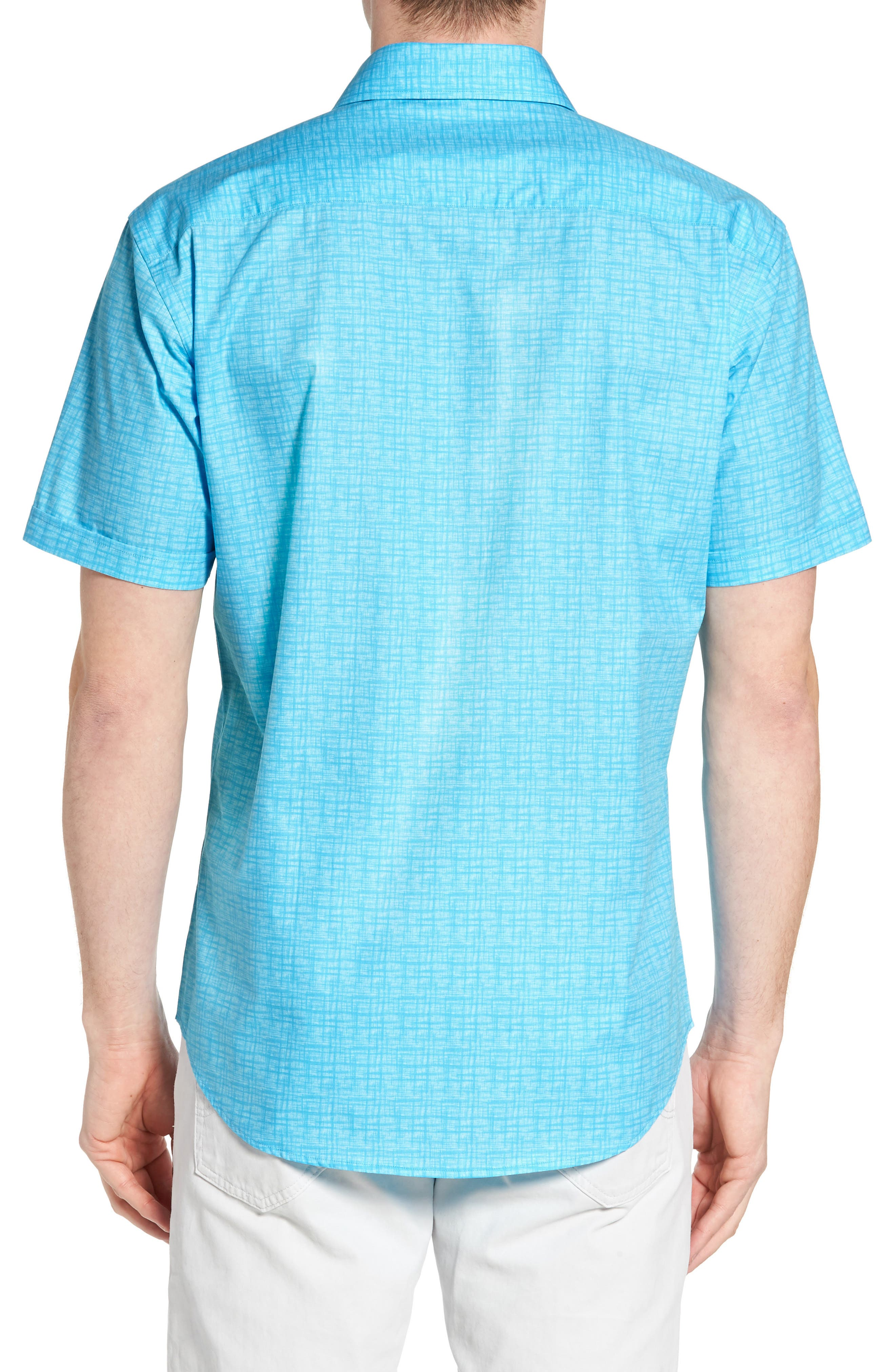 Freehand Shaped Fit Sport Shirt,                             Alternate thumbnail 2, color,                             Aqua