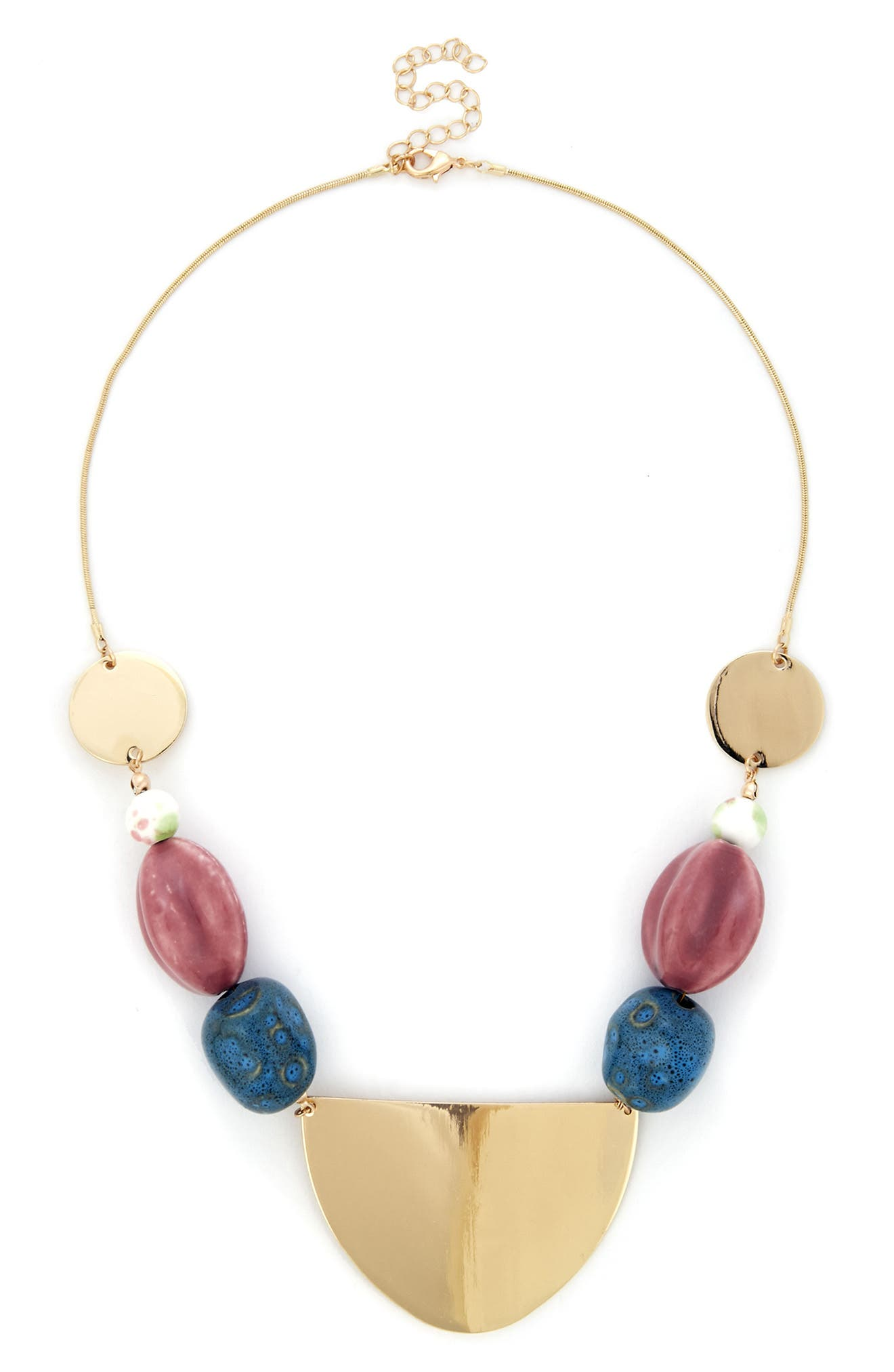 Sole Society Beaded Disc Necklace