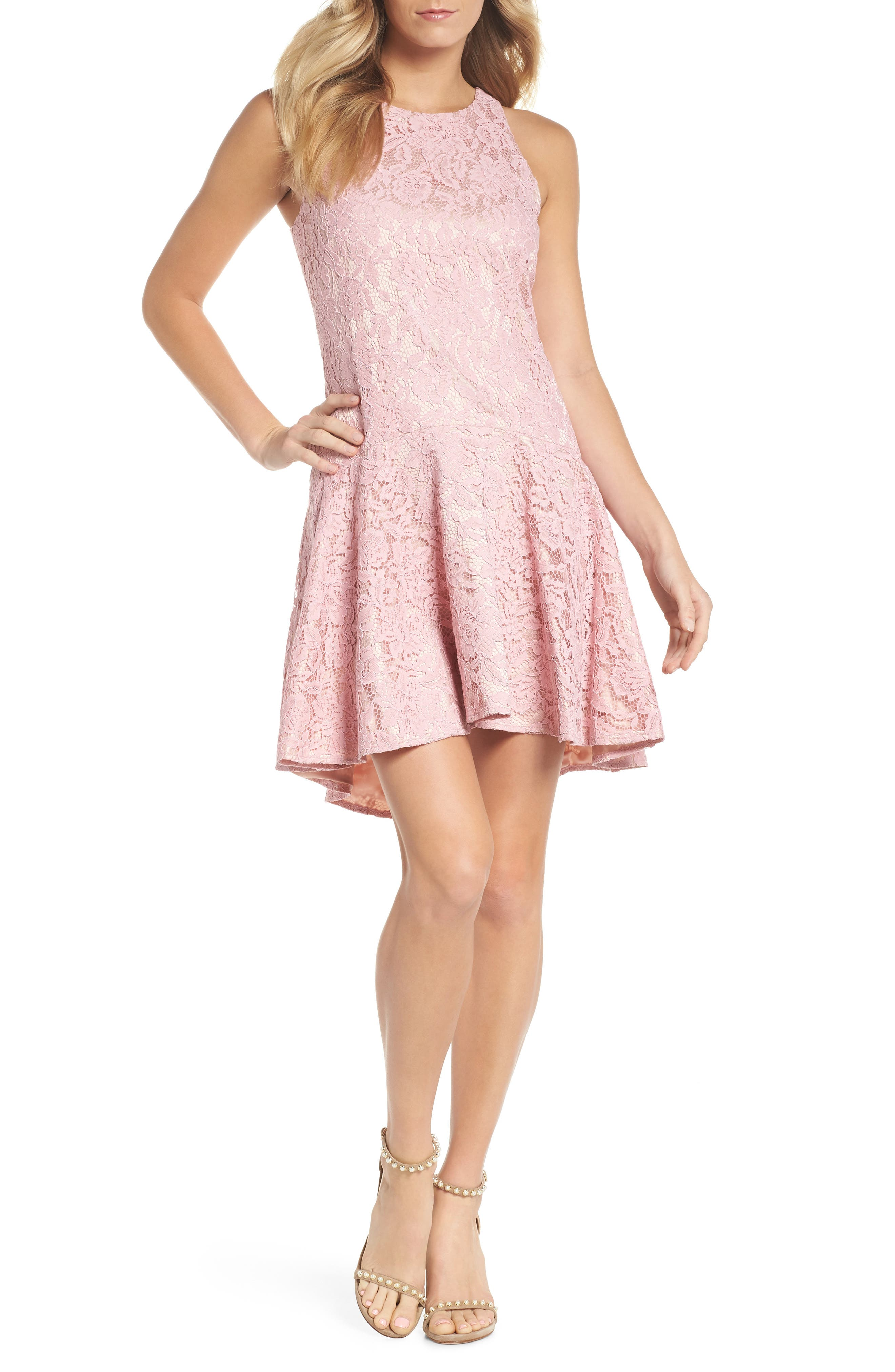Sleeveless Drop Waist Lace Dress,                         Main,                         color, Blush