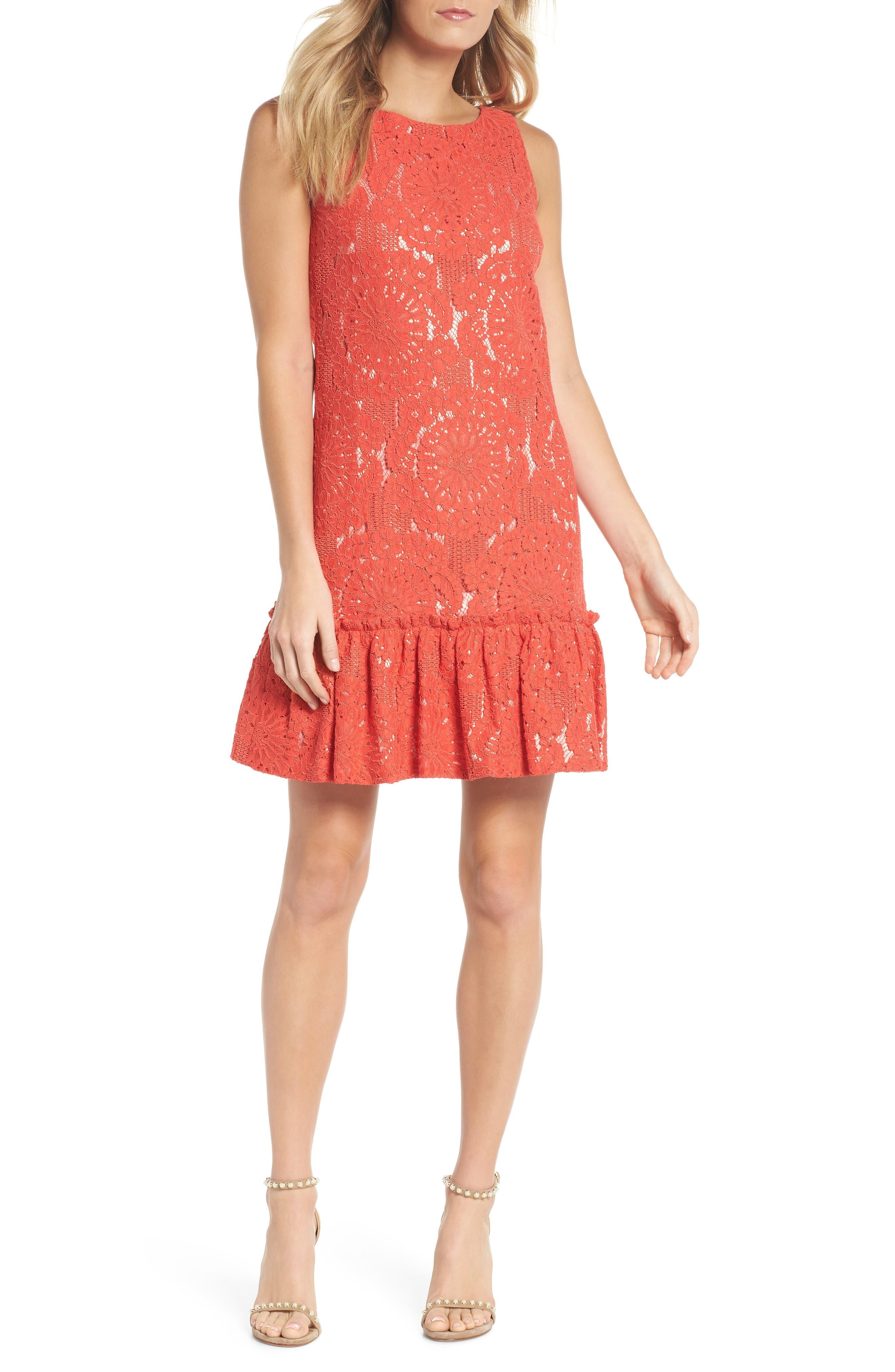 Eliza J Ruffle Hem Lace Shift Dress (Regular & Petite)