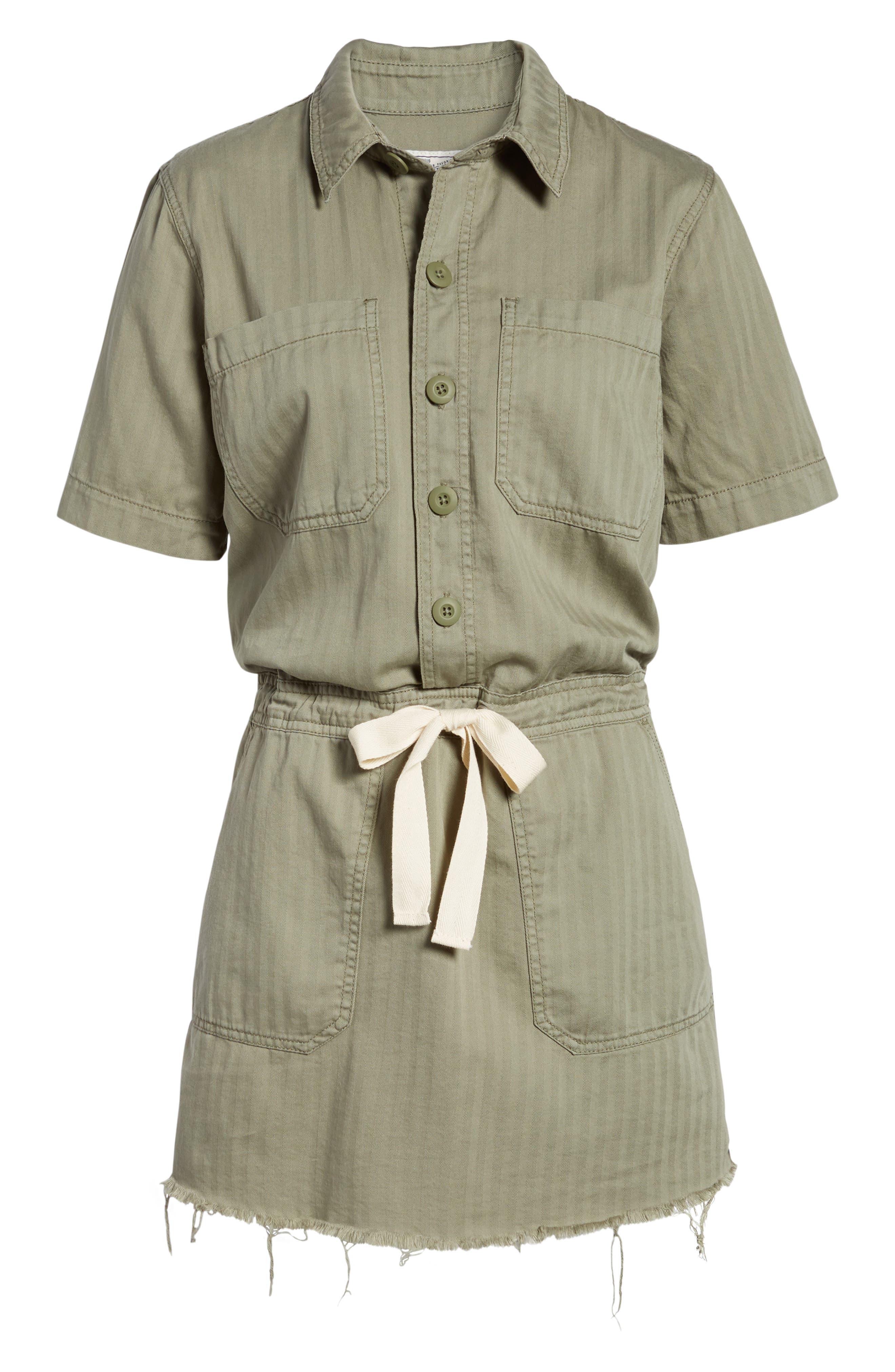 Drawstring Cotton Twill Dress,                             Alternate thumbnail 6, color,                             Sage Fray