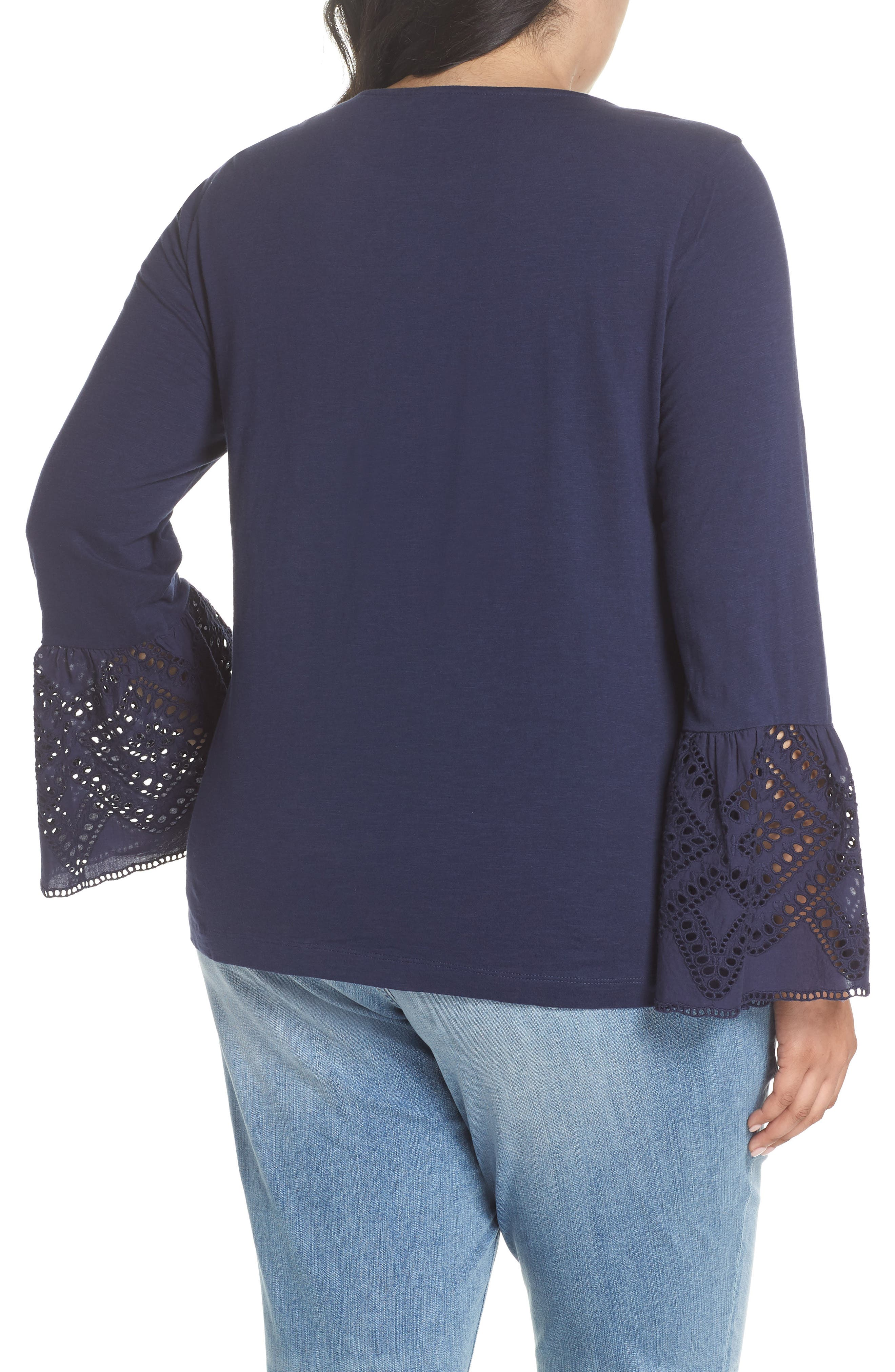 Eyelet Bell Sleeve Top,                             Alternate thumbnail 2, color,                             Navy Peacoat