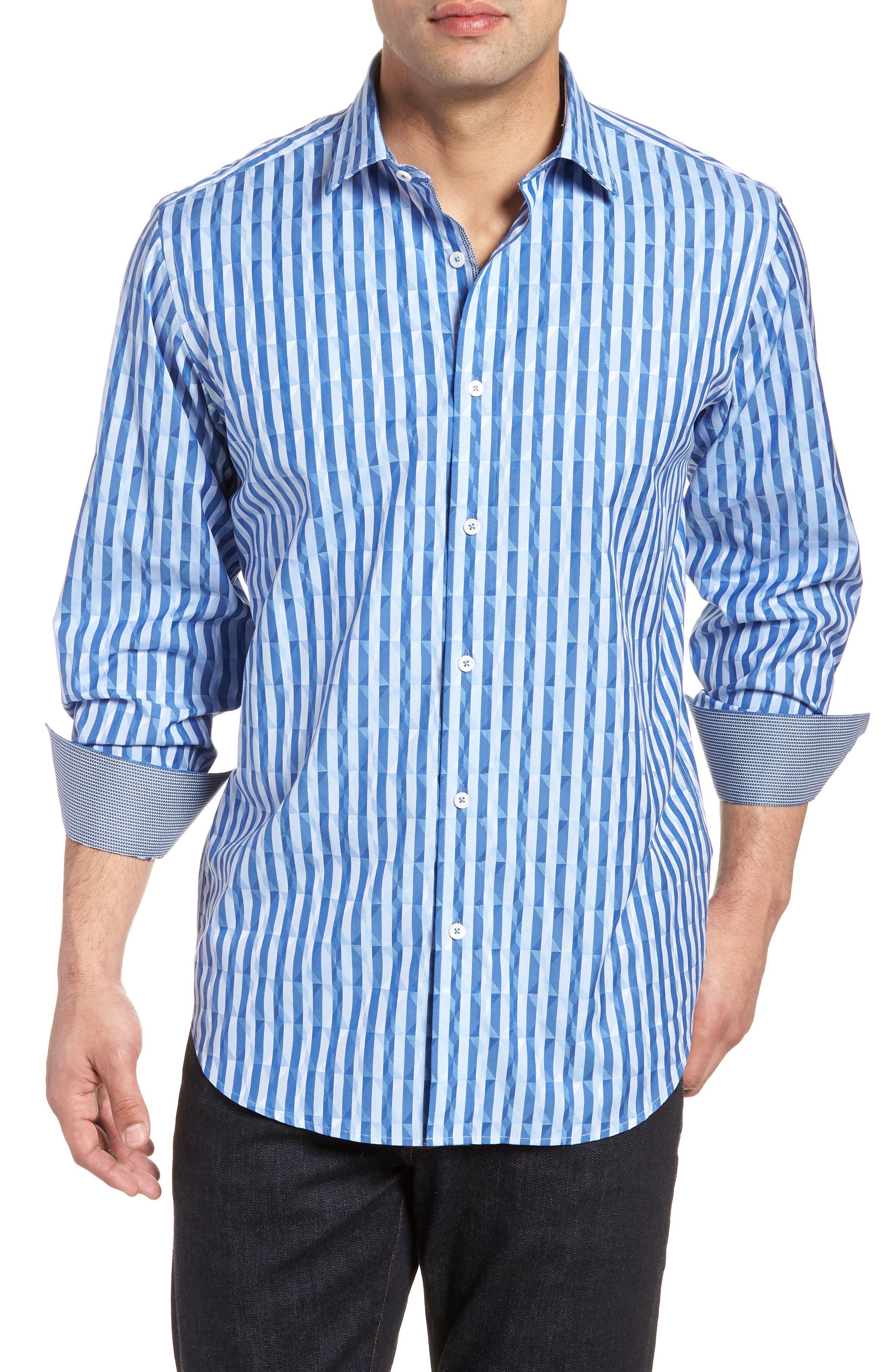 Candy Stripe Geometric Classic Fit Sport Shirt,                             Main thumbnail 1, color,                             Classic Blue