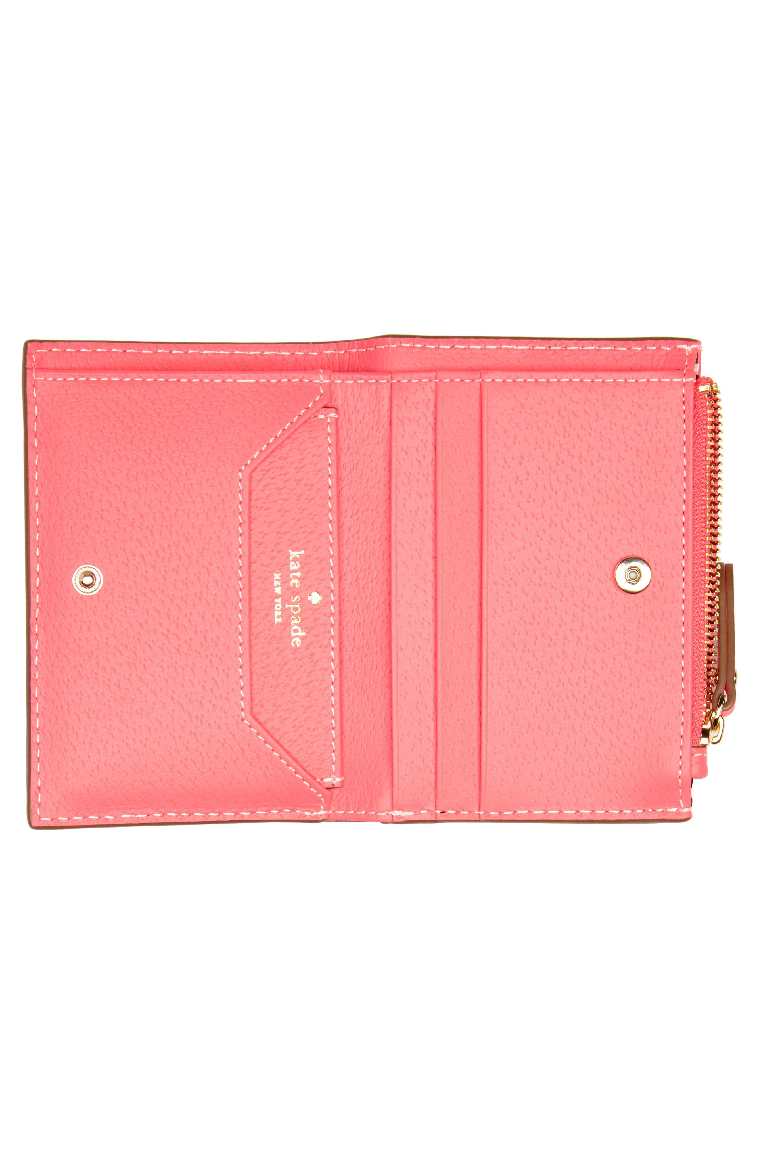 thompson street – abri leather wallet,                             Alternate thumbnail 2, color,                             Bright Flamingo