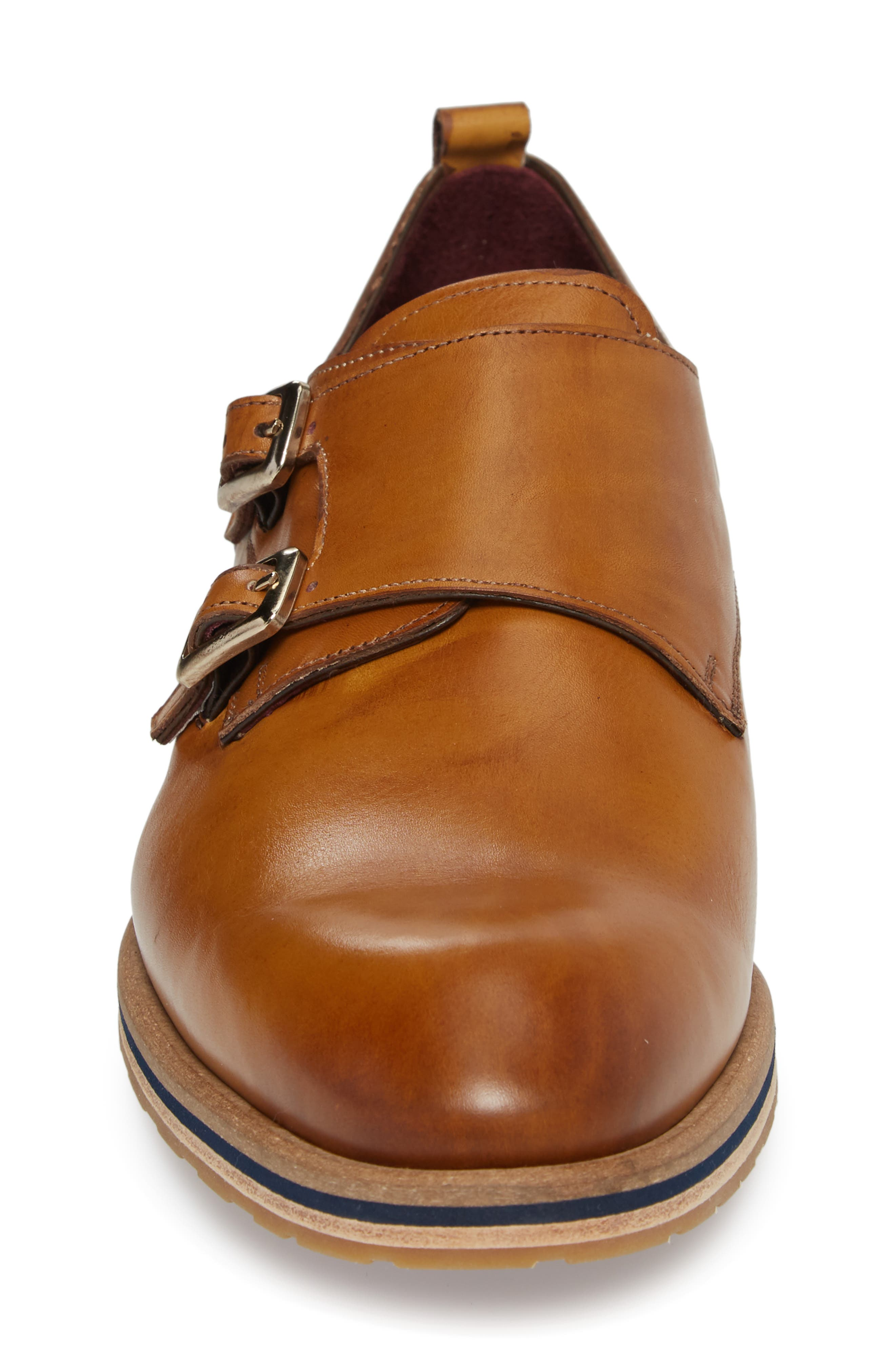 Apolo Double Buckle Monk Shoe,                             Alternate thumbnail 4, color,                             Honey Leather