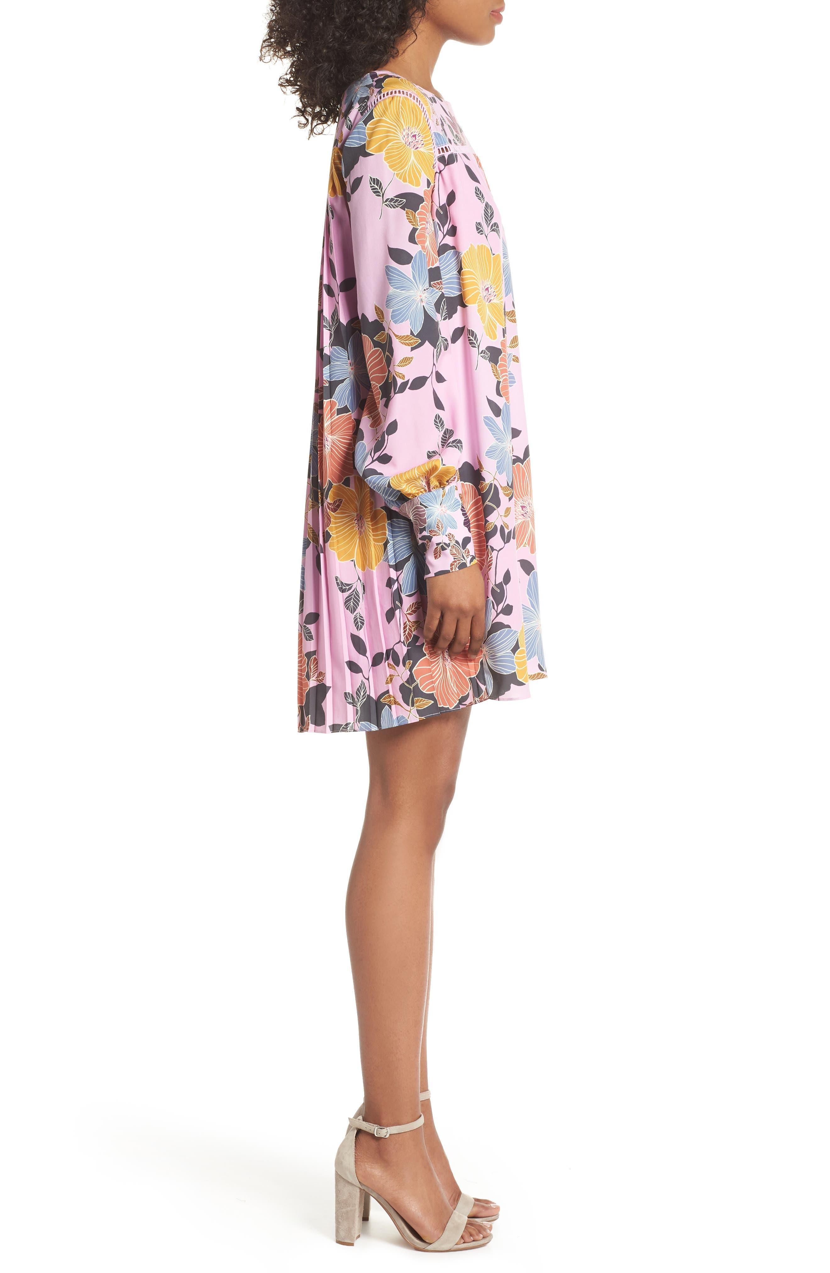 Shikoku Floral Crepe Shift Dress,                             Alternate thumbnail 3, color,                             Violet Vice Multi