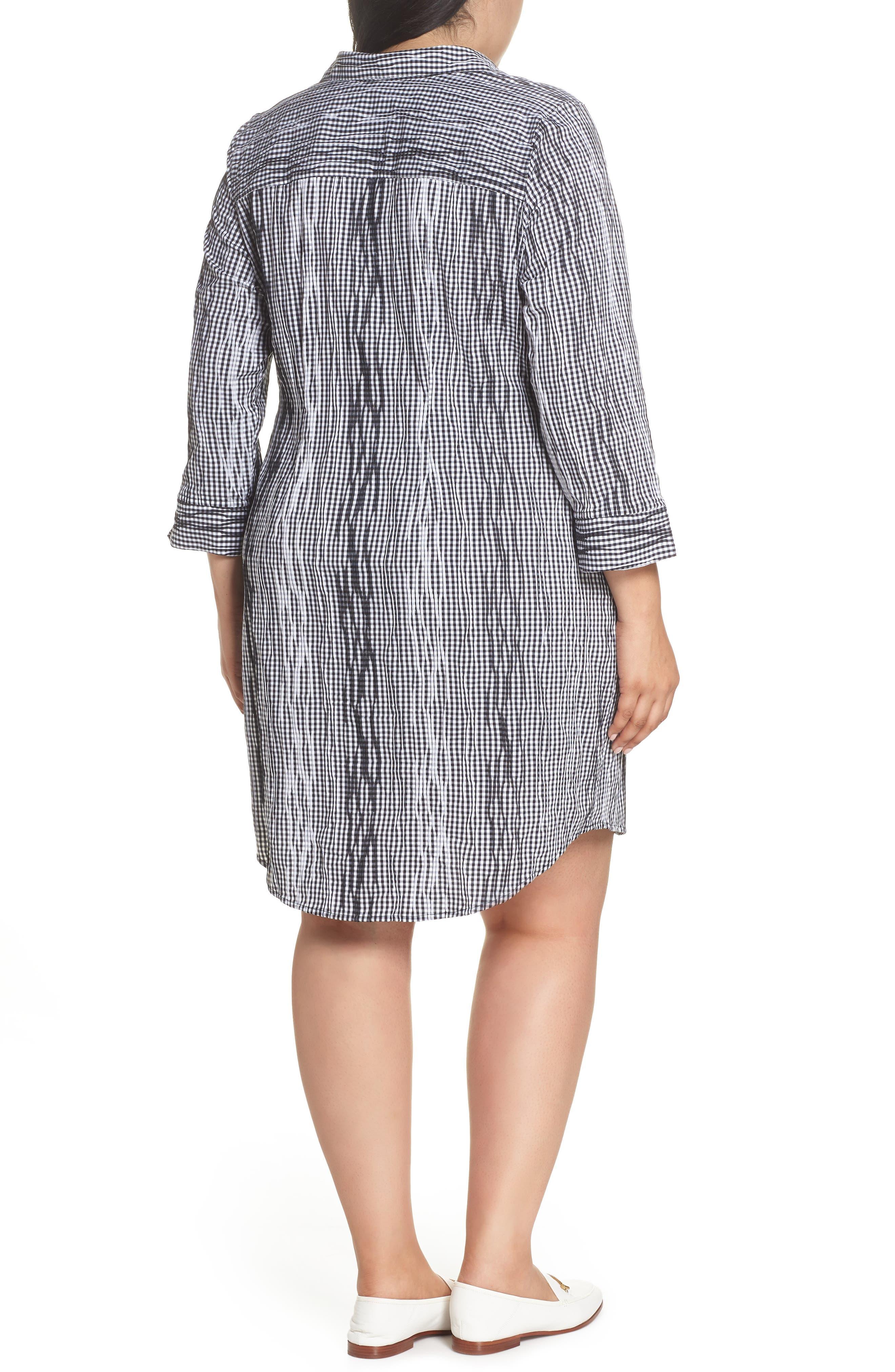 Miri Crinkle Gingham Shirtdress,                             Alternate thumbnail 2, color,                             Black