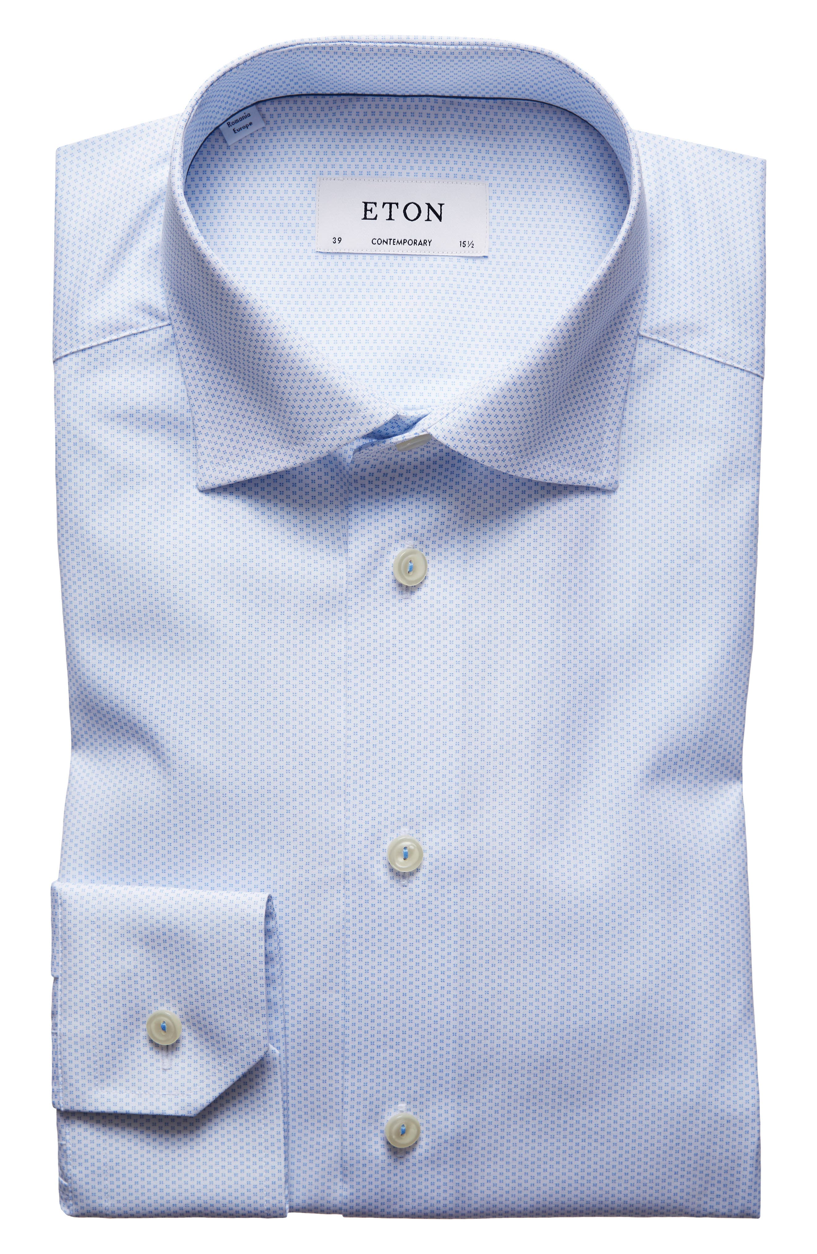 Contemporary Fit Print Dress Shirt,                             Alternate thumbnail 7, color,                             Blue