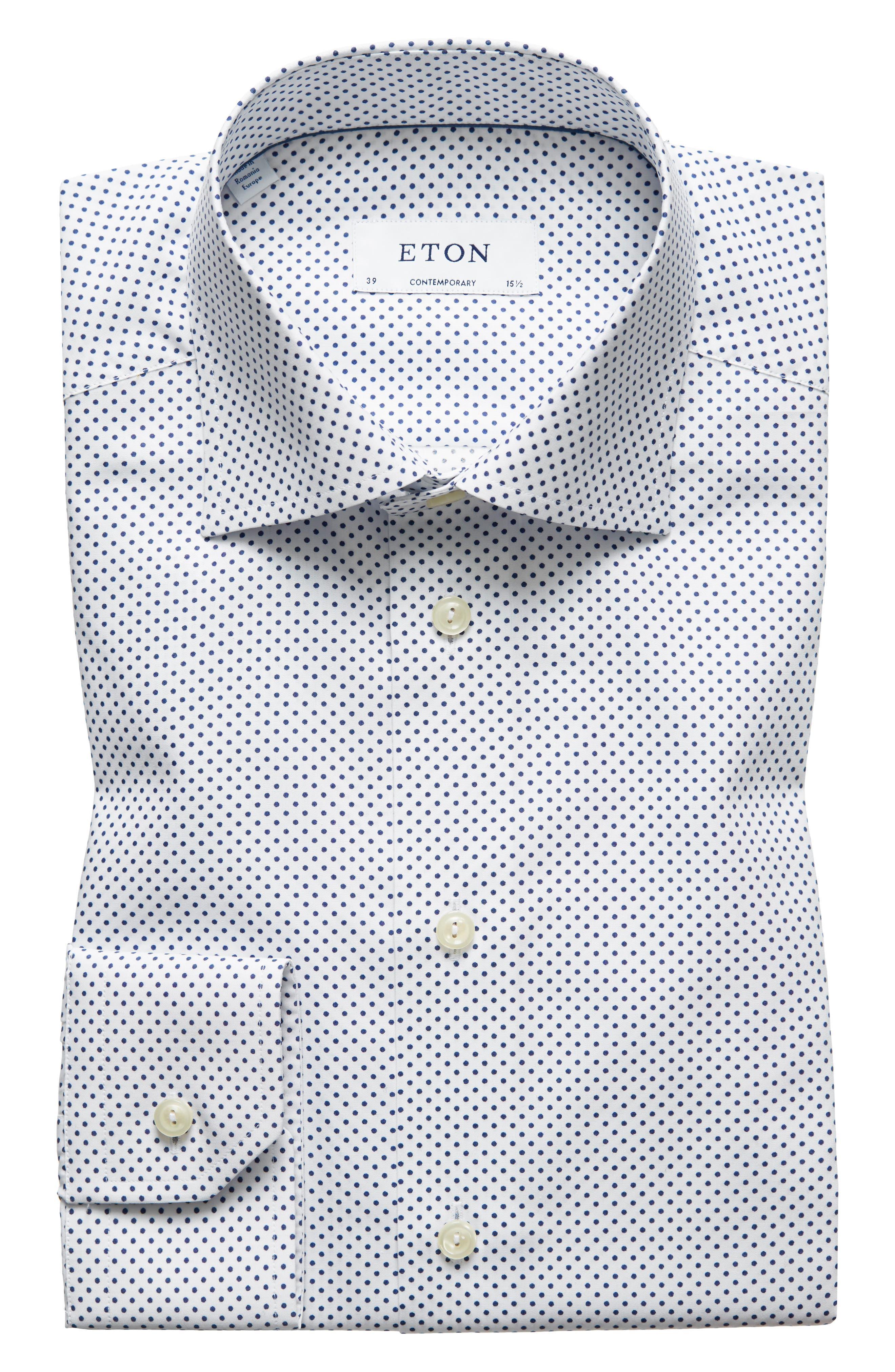 Contemporary Fit Dot Dress Shirt,                         Main,                         color, White