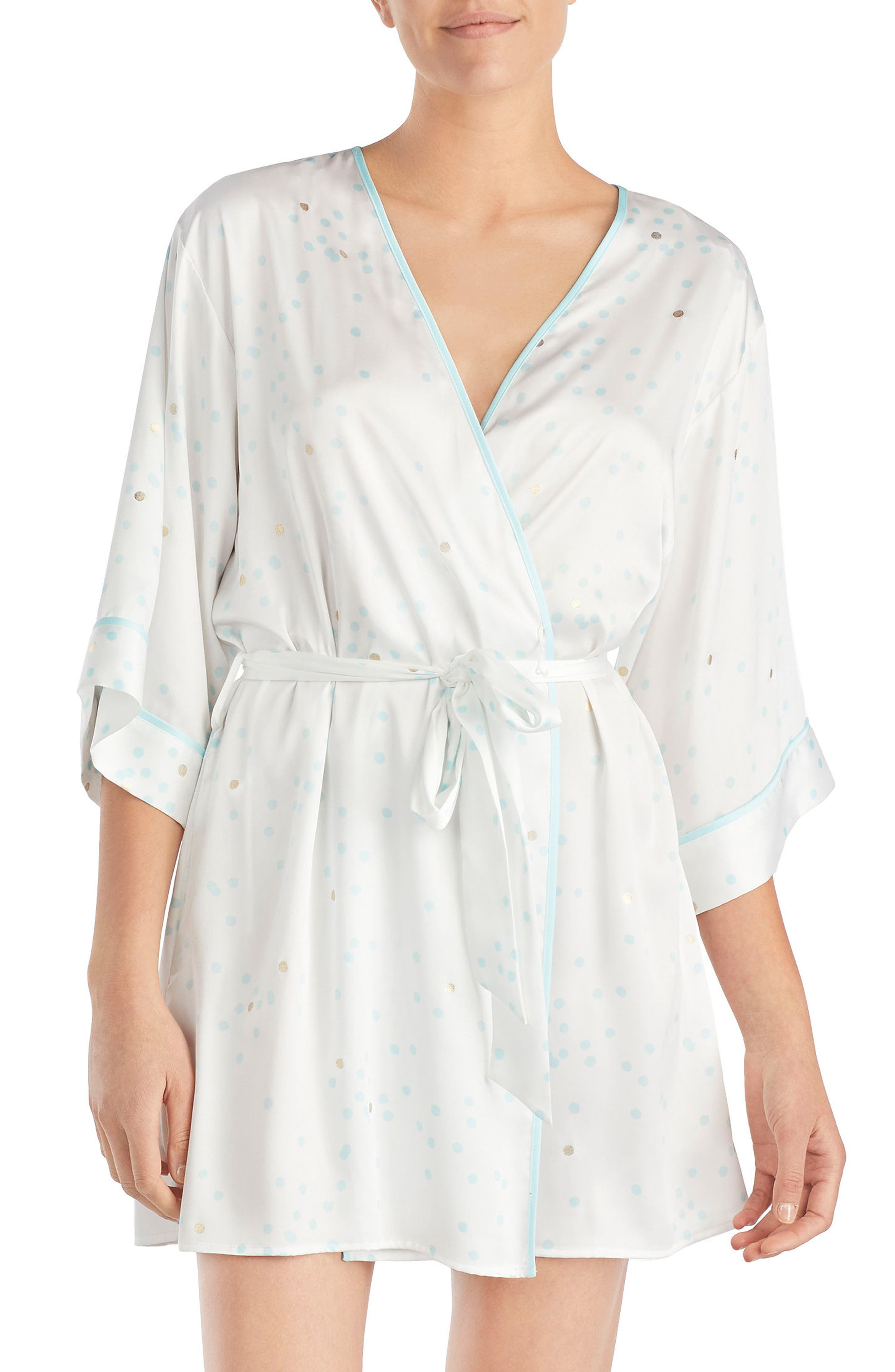 three-quarter sleeve robe,                         Main,                         color, Gold Dot