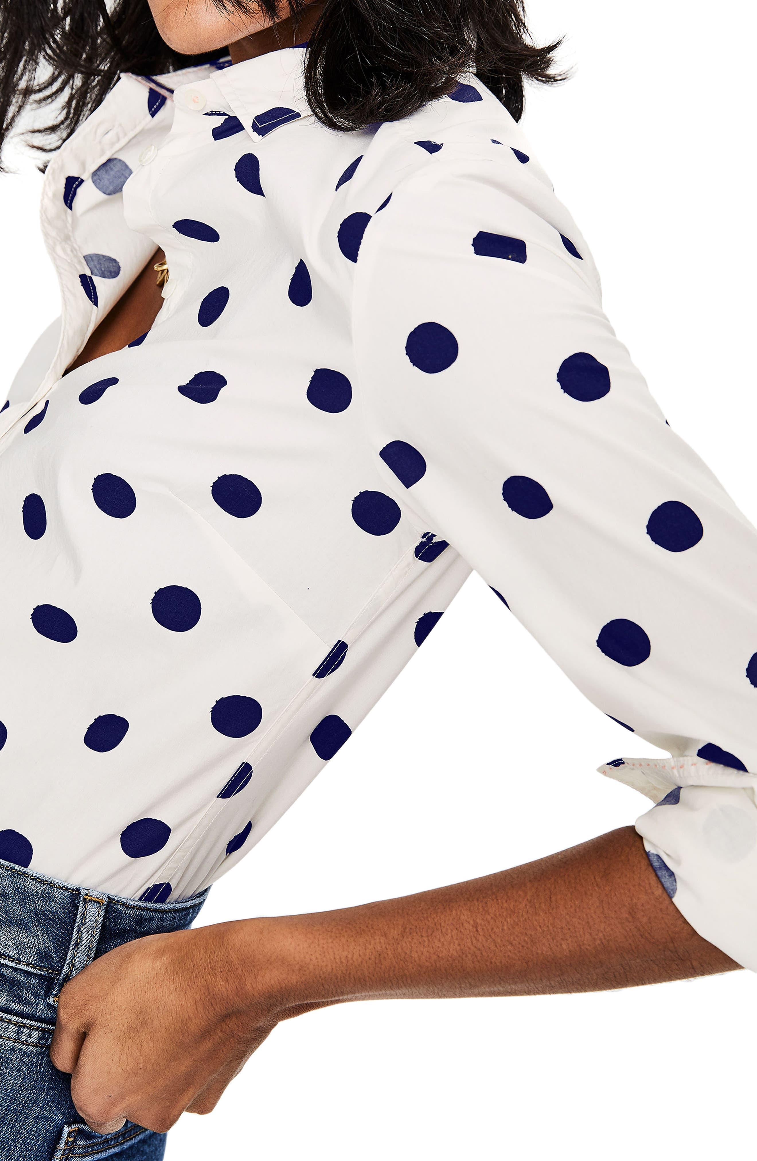 Print Shirt,                             Alternate thumbnail 3, color,                             Ivory/ Navy Spot