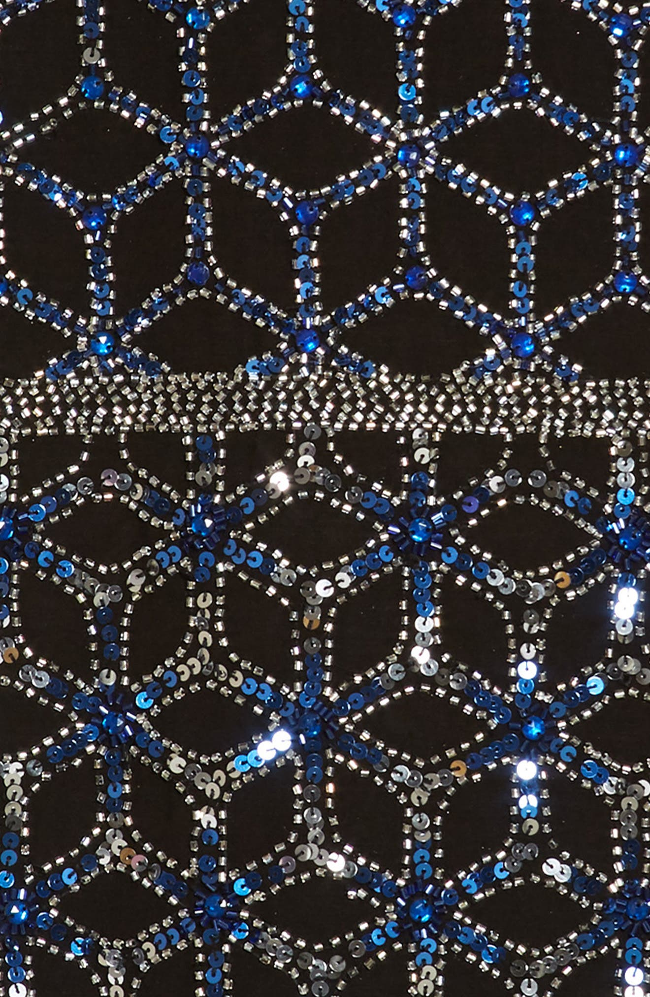 Sequined & Beaded Tank Dress,                             Alternate thumbnail 3, color,                             Black/ Blue
